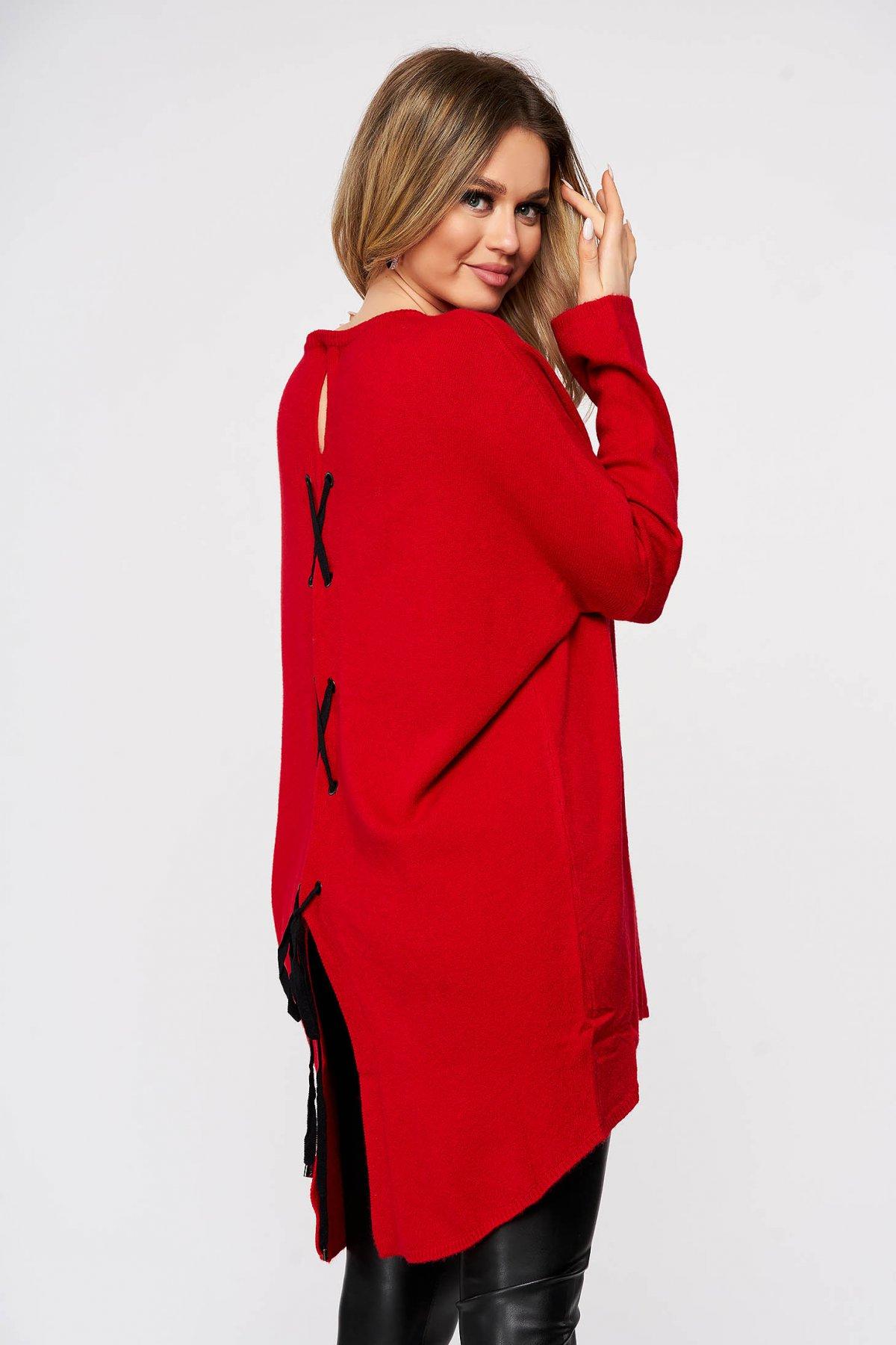Bluza dama SunShine rosie tricotata din material elastic si fin cu croi larg cu snur si slit la spate imagine