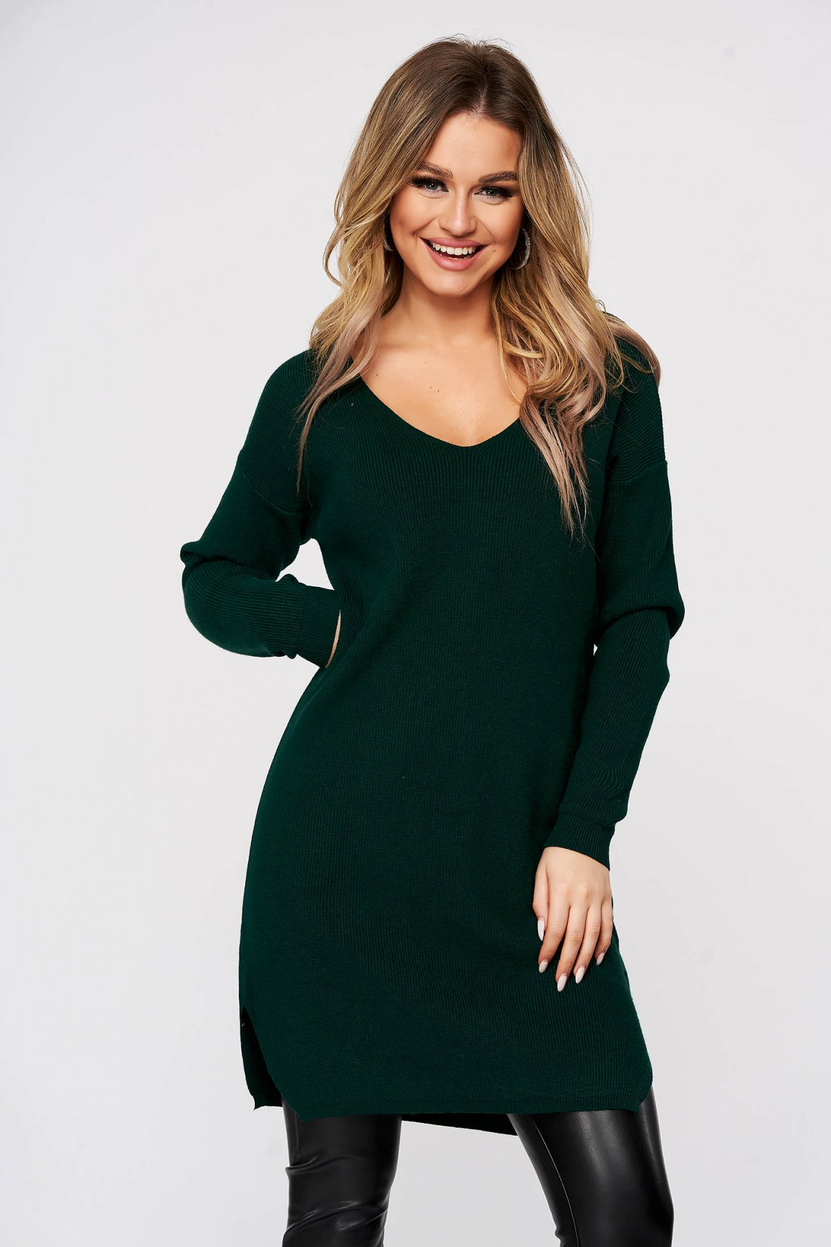 Bluza SunShine verzi tricotat din material reiat elastic si fin slit lateral cu decolteu in v imagine