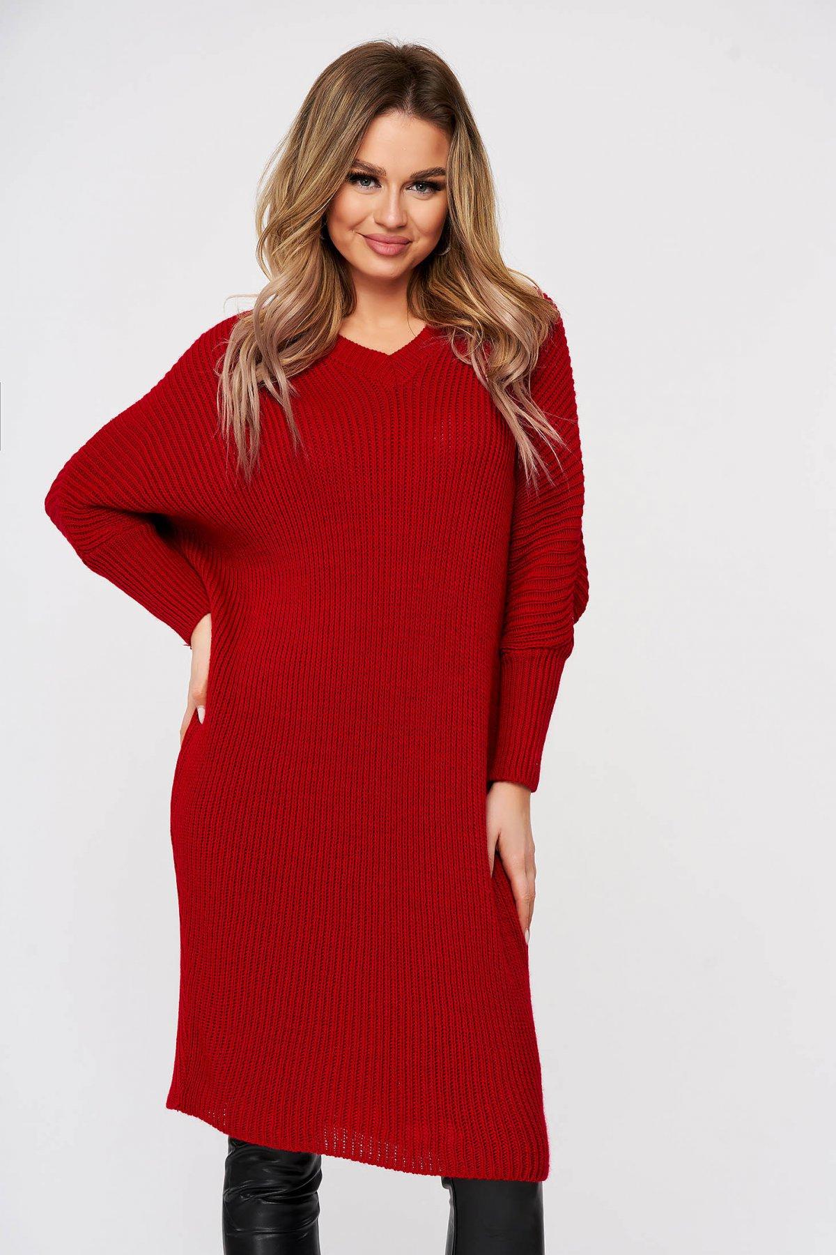 Rochie SunShine casual rosie din material reiat tricotat maneci largi trei-sferturi SunShine