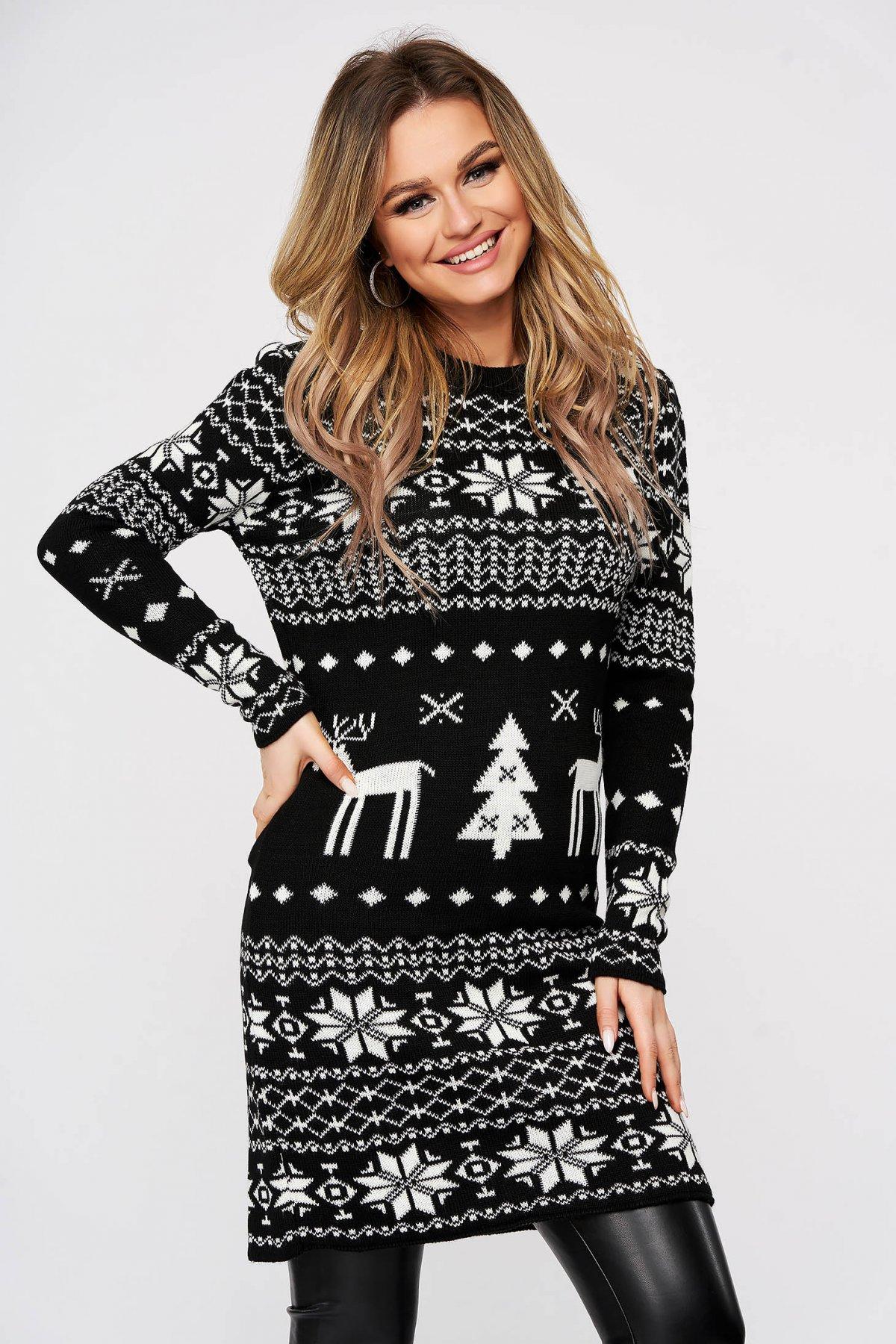 Rochie SunShine casual neagra cu imprimeu de craciun tricotata midi decolteu la baza gatului cu croi larg