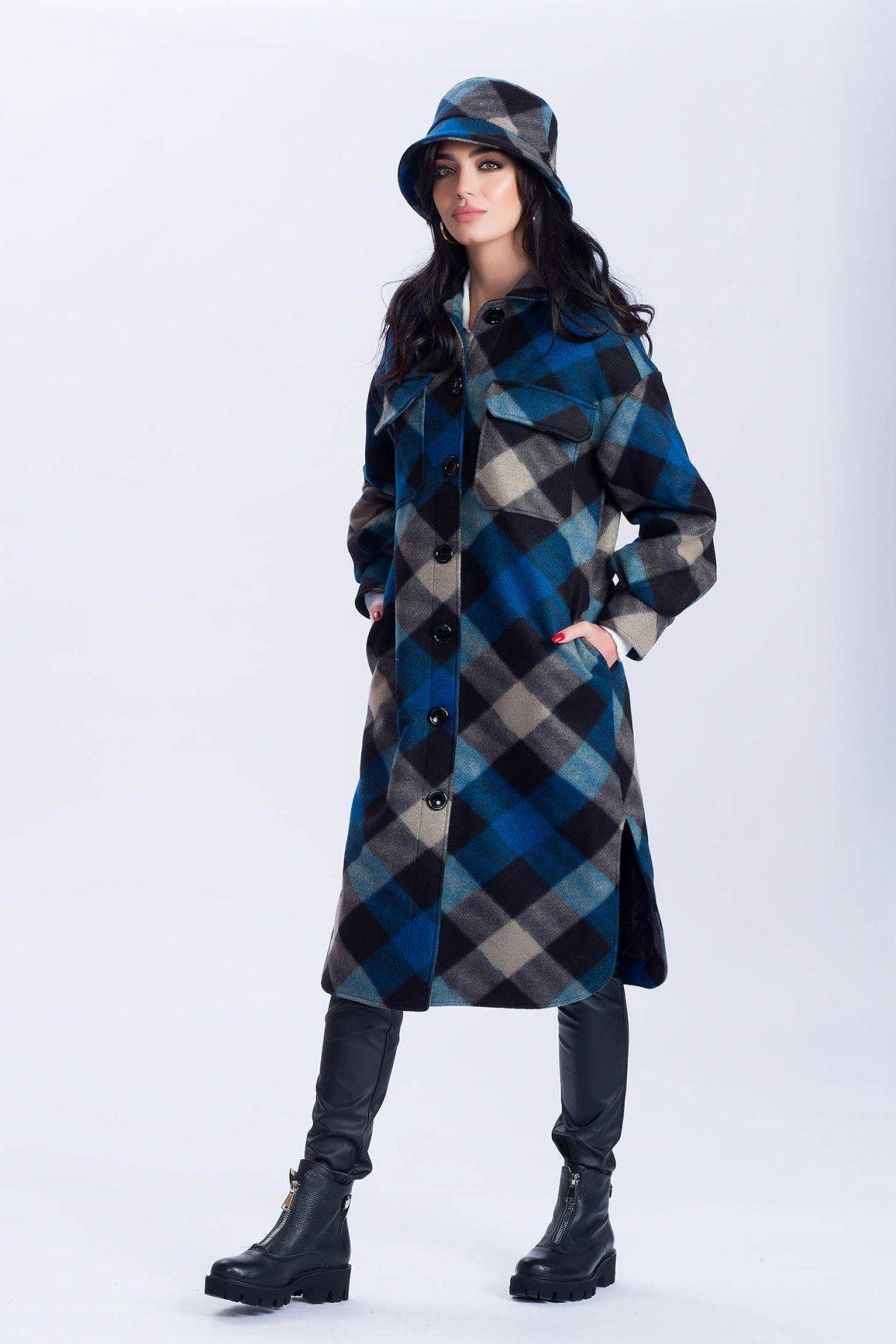 Palton Artista cu croi larg in carouri cu slituri lateral si buzunare