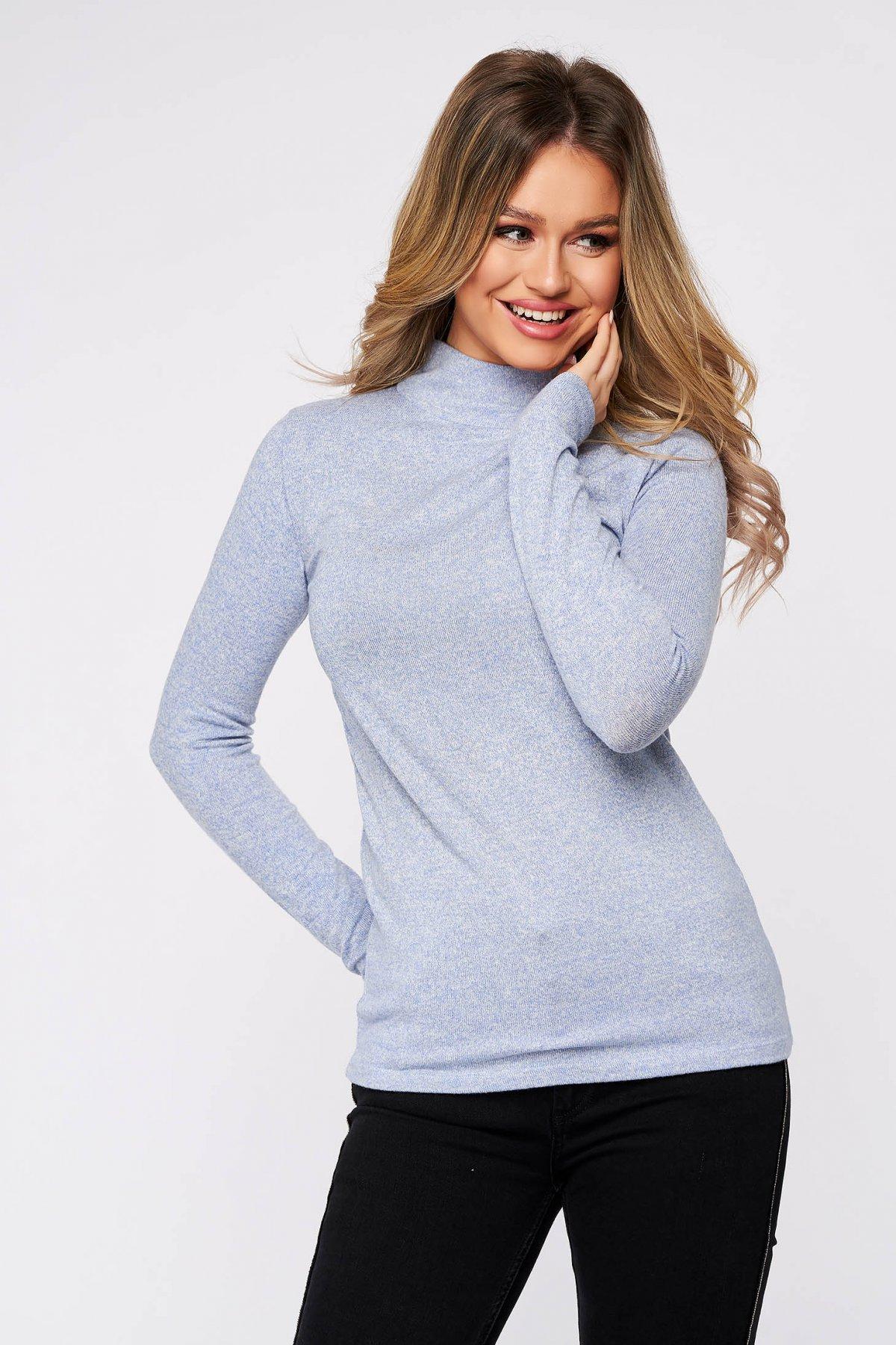 Bluza dama SunShine albastru-deschis din bumbac pe gat din material elastic si fin la atingere imagine