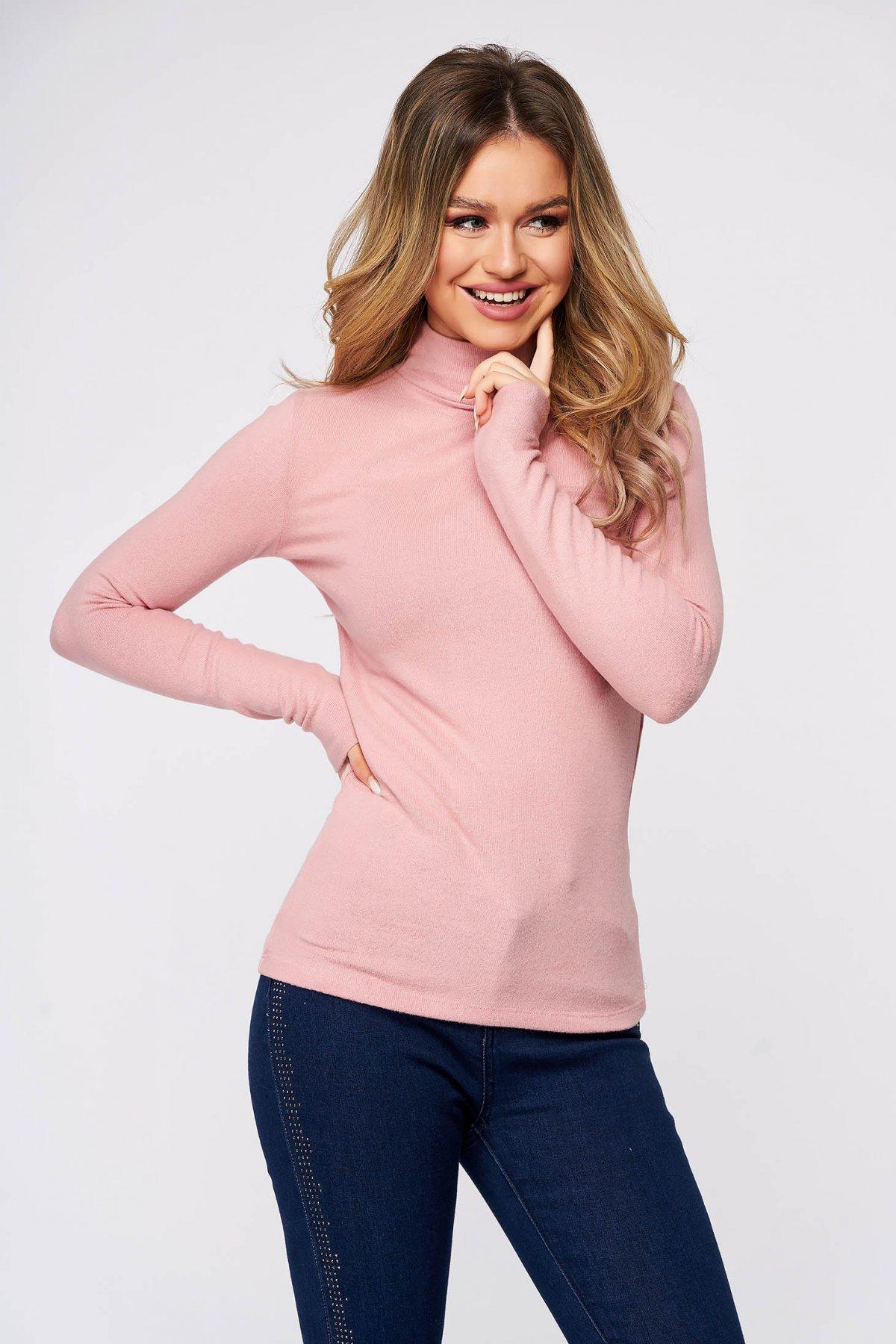 Bluza dama SunShine roz deschis din bumbac pe gat din material elastic si fin la atingere