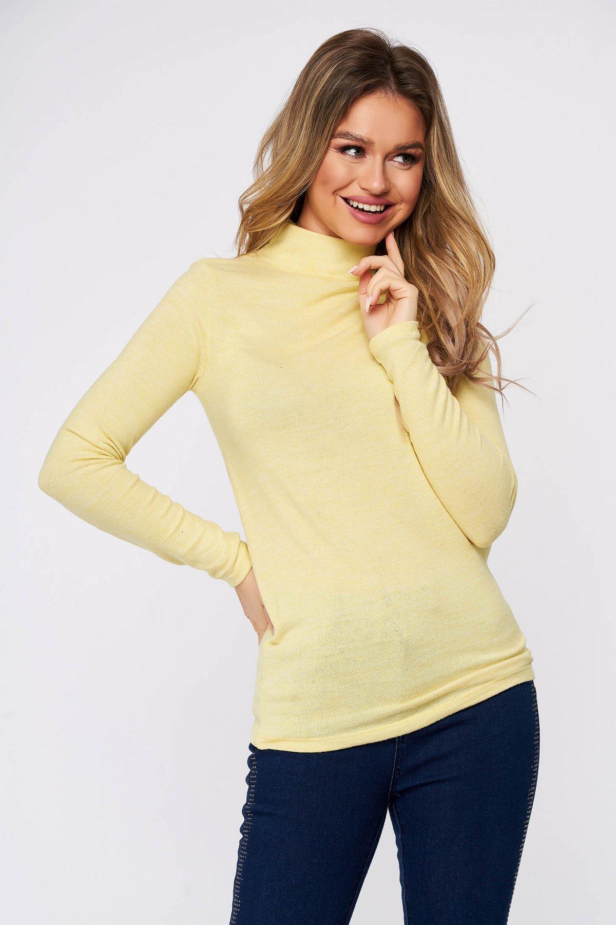 Bluza dama SunShine galbena din bumbac pe gat din material elastic si fin la atingere