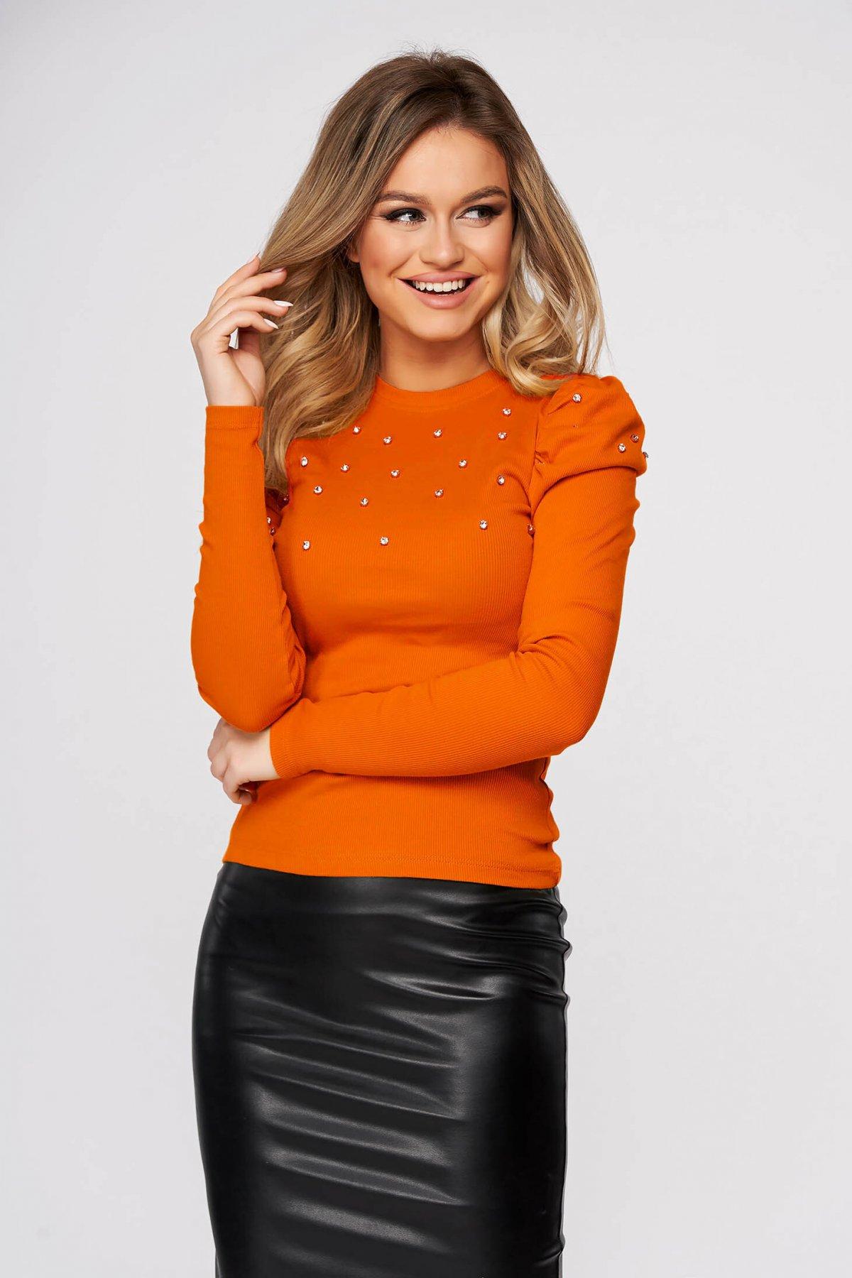 Bluza dama SunShine portocalie casual mulata din material reiat cu aplicatii cu pietre strass umeri cu volum