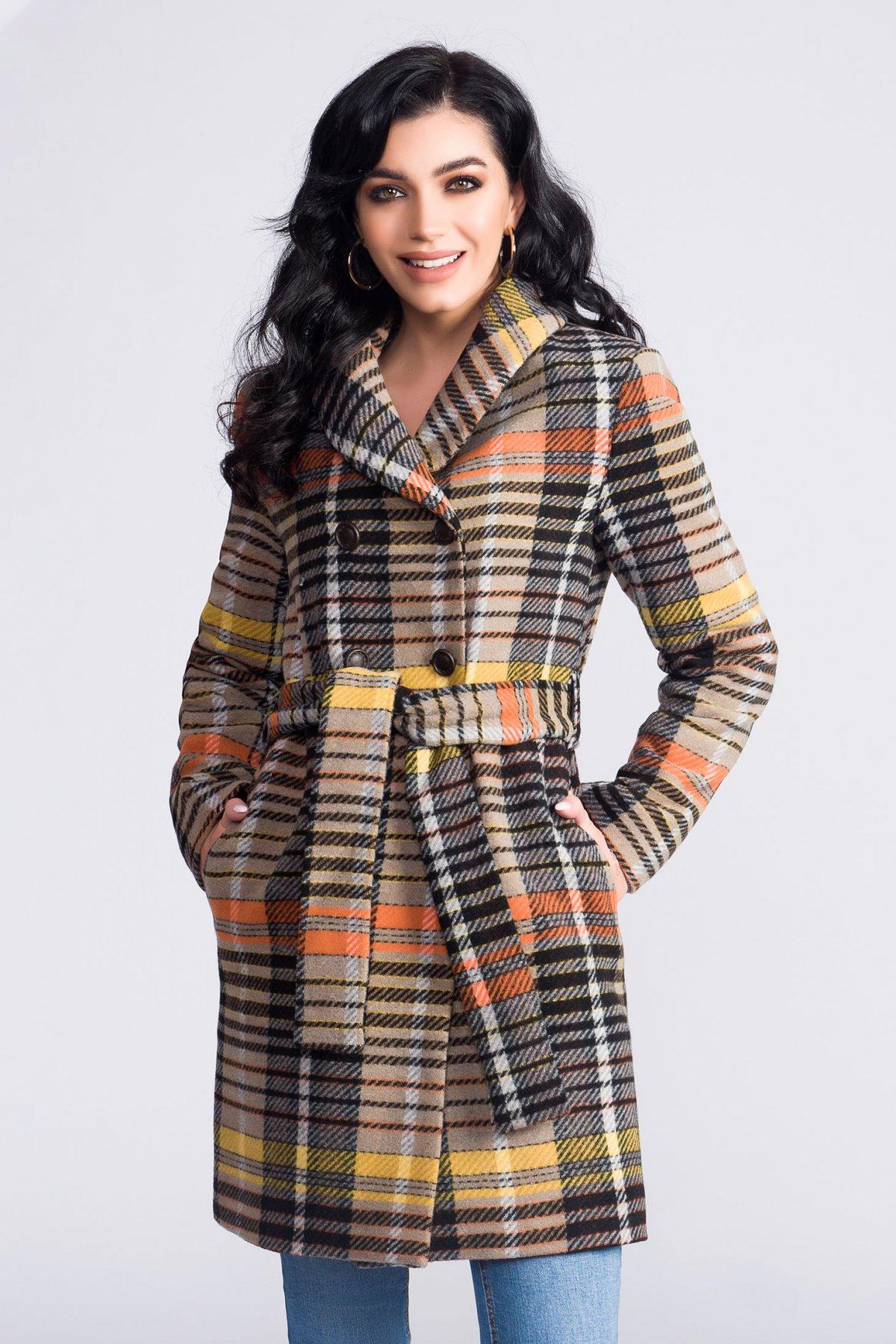 Palton Artista maro din lana office cu un croi drept accesorizat cu cordon cu dungi imagine