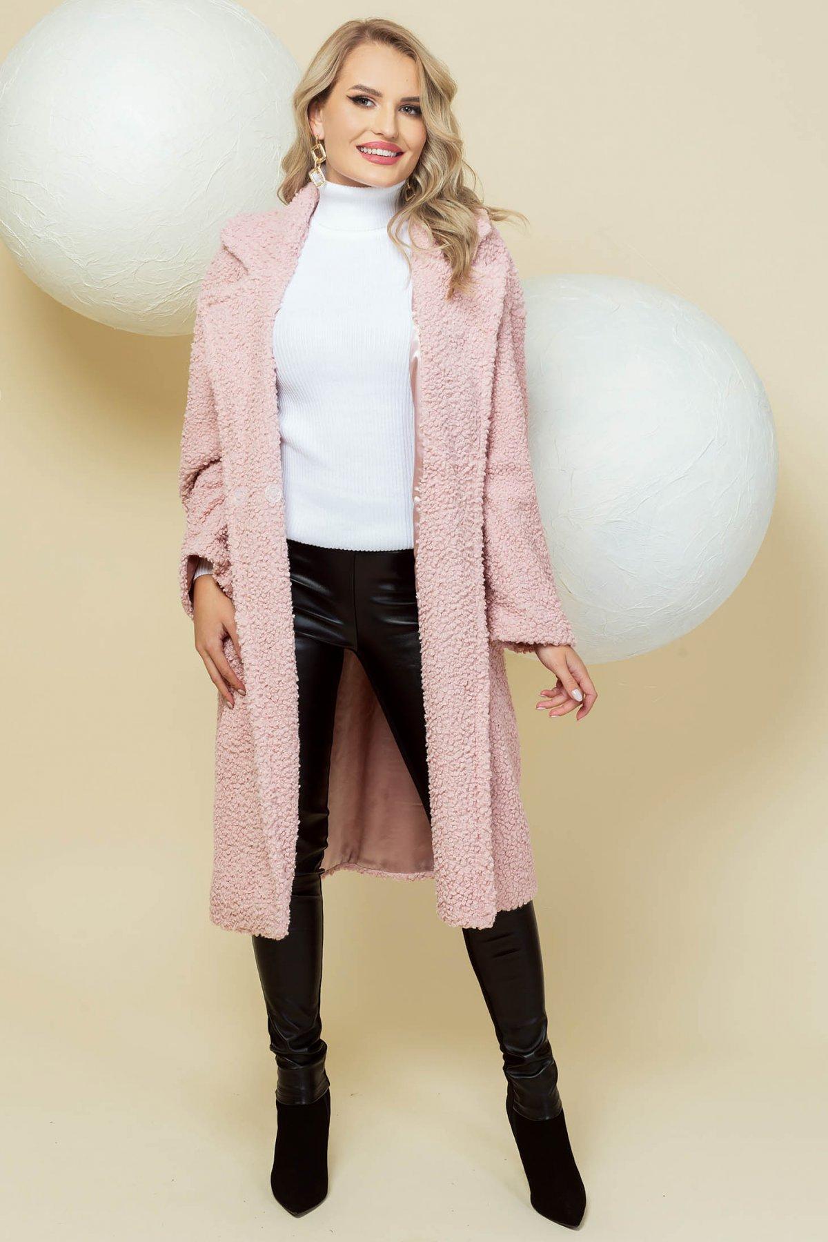 Palton PrettyGirl roz deschis lung din material pufos tip blanita cu croi larg imagine