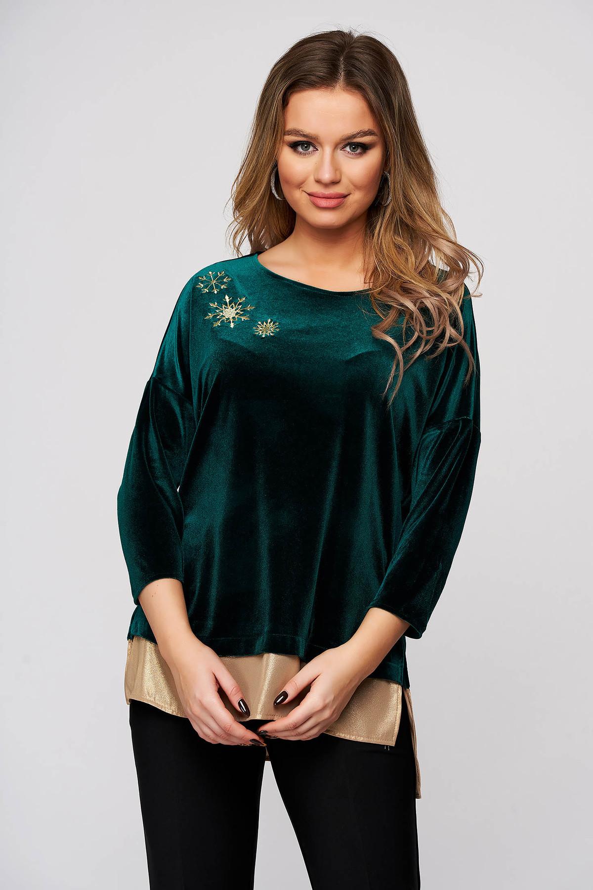 Bluza dama StarShinerS verde de ocazie din catifea cu slituri laterale si broderie