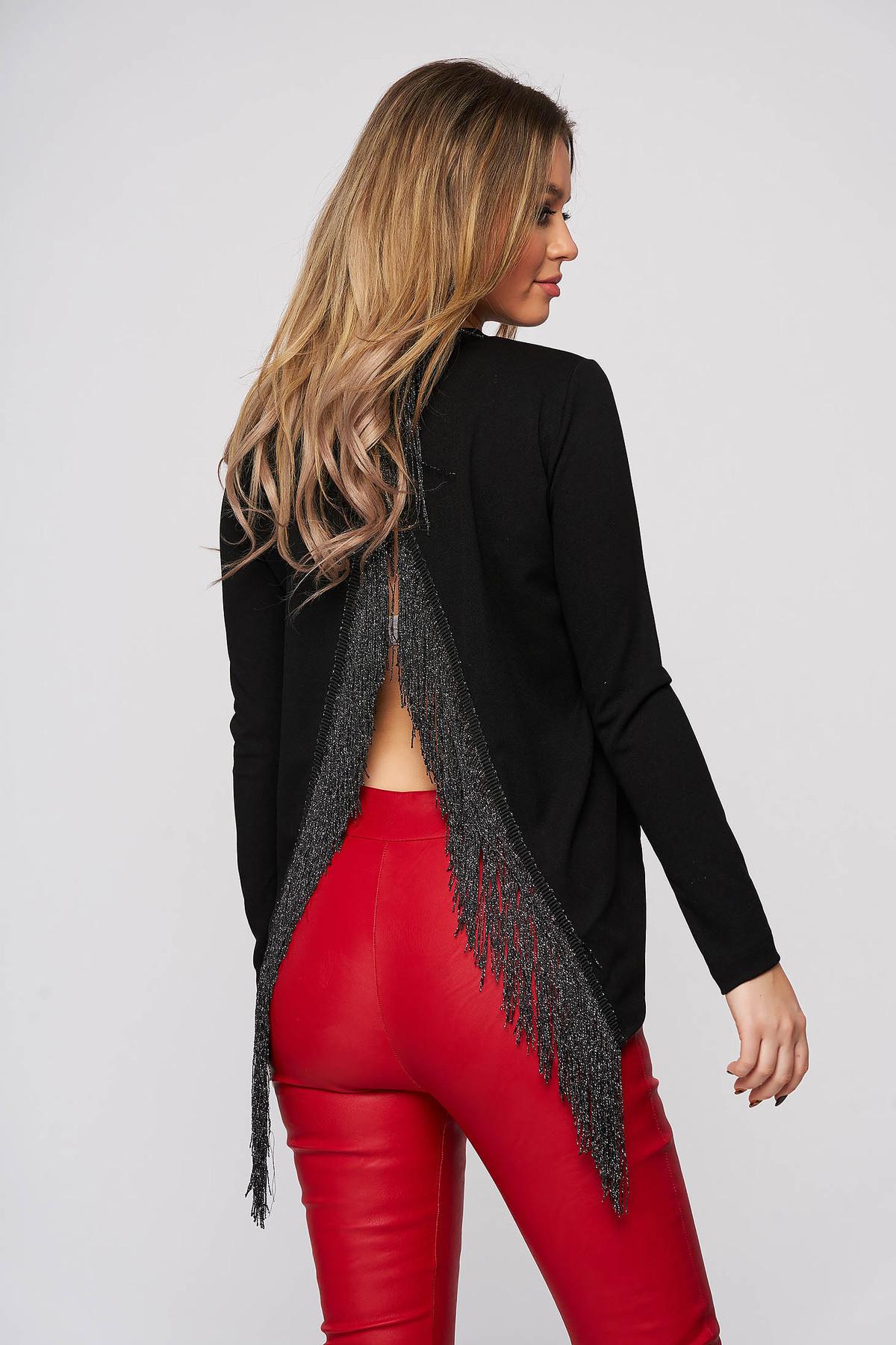 Bluza dama StarShinerS neagra de party cu spatele decupat cu franjuri