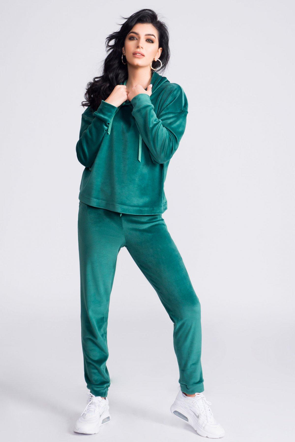 Trening dama Artista verde casual din catifea din doua piese cu croi larg cu gluga nedetasabila imagine