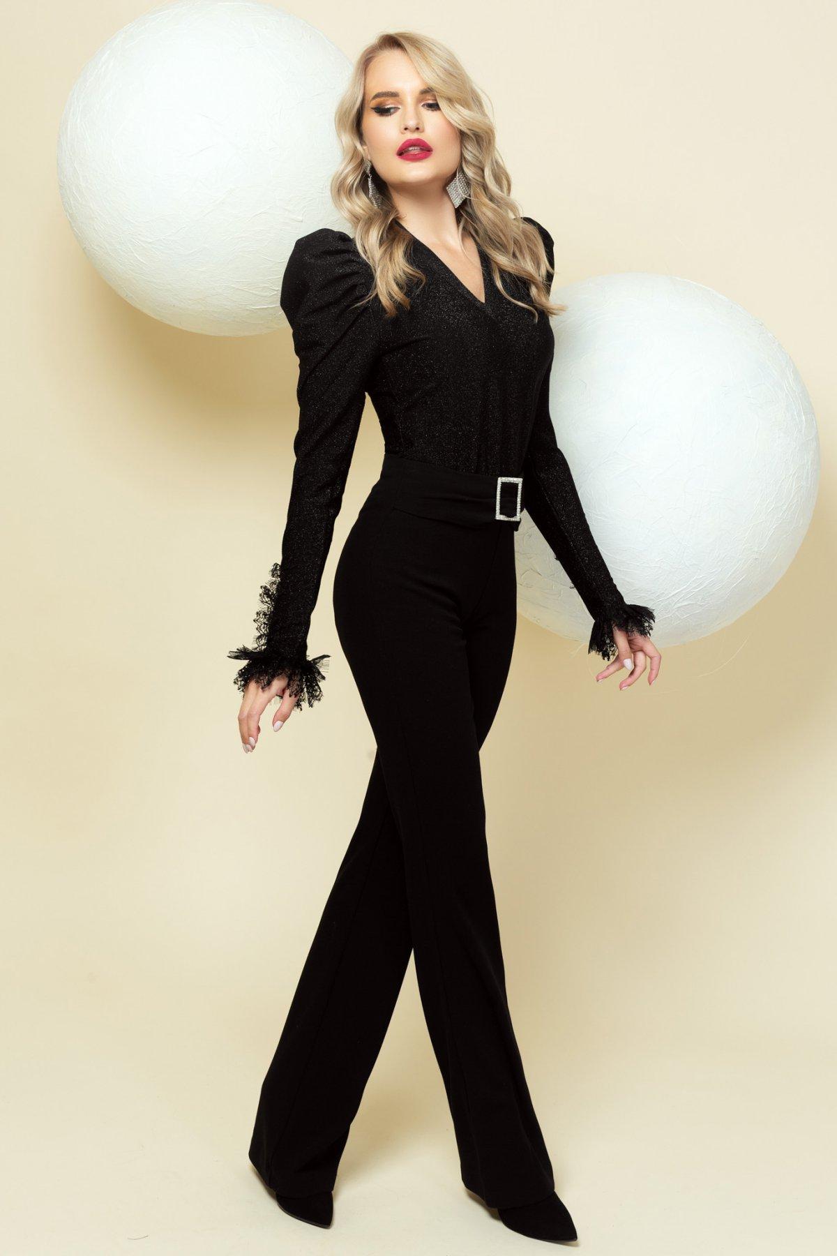 Pantaloni PrettyGirl negri din bumbac usor elastic de ocazie cu talie inalta evazati cu accesoriu tip curea imagine