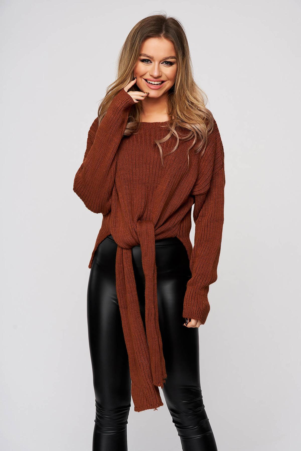Poza Bluza dama SunShine maro casual din material elastic si fin reiat cu nod rasucit in talie