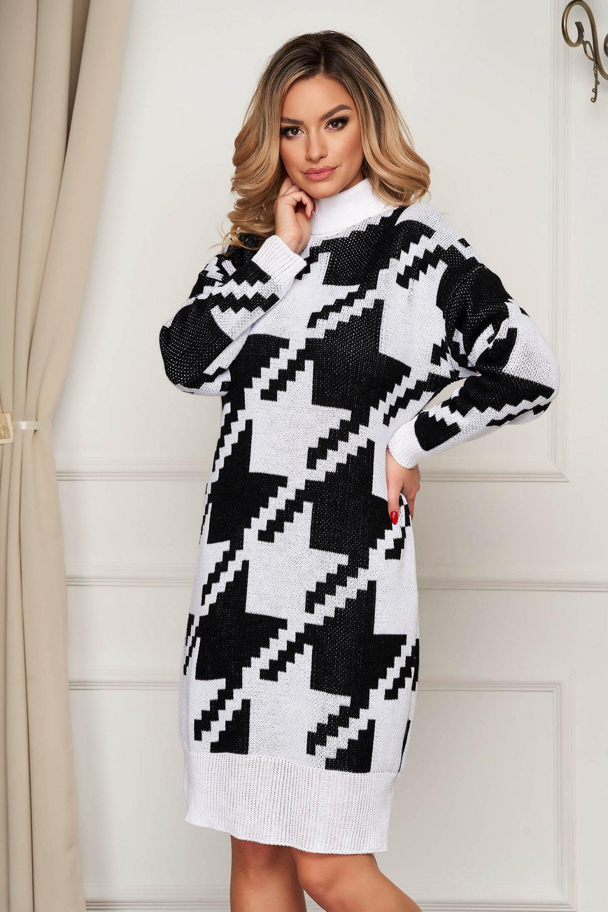 Rochie SunShine tricotata din material gros elastic pe gat cu croi larg SunShine