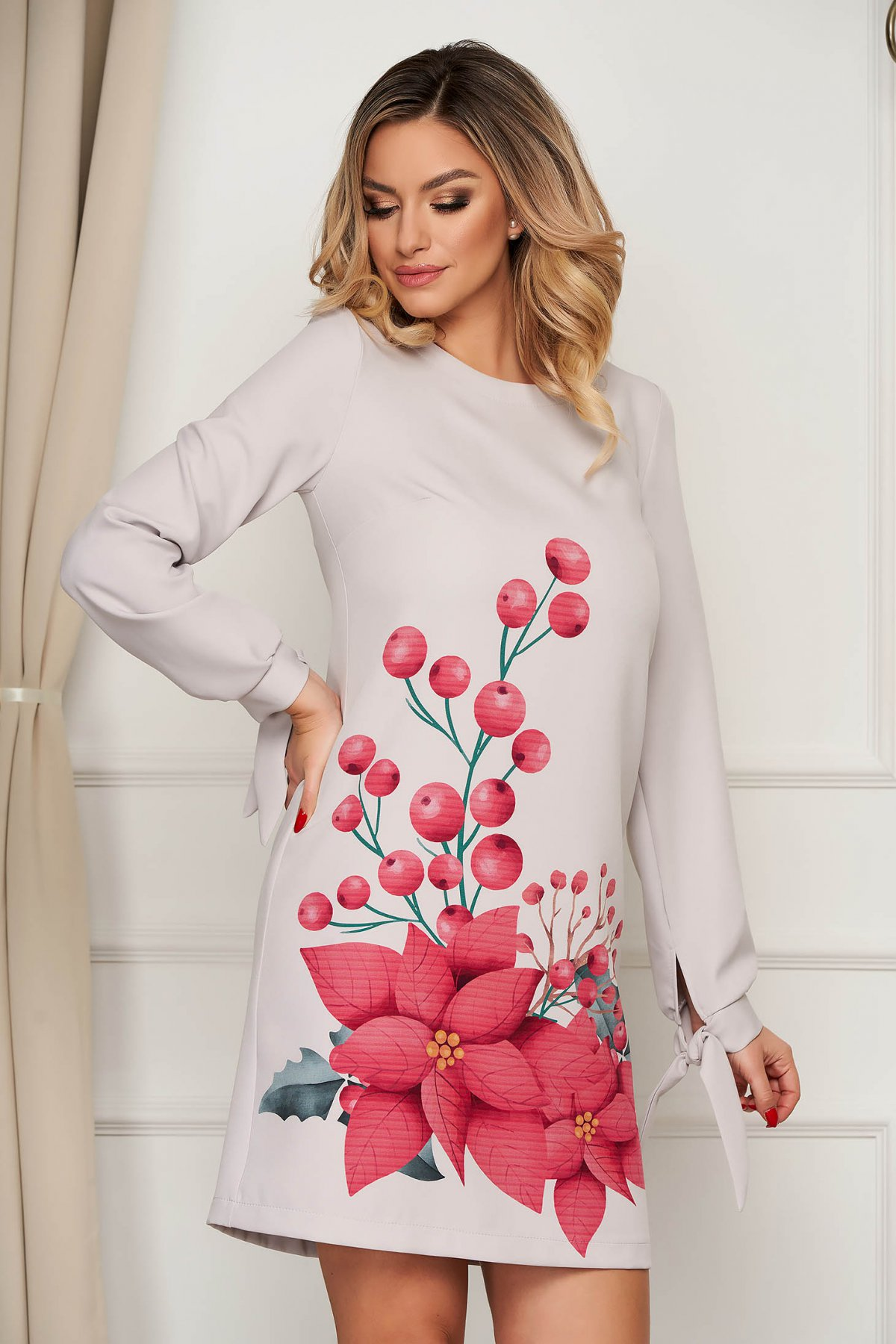 Poza Rochie StarShinerS gri scurta eleganta din stofa cu imprimeu floral