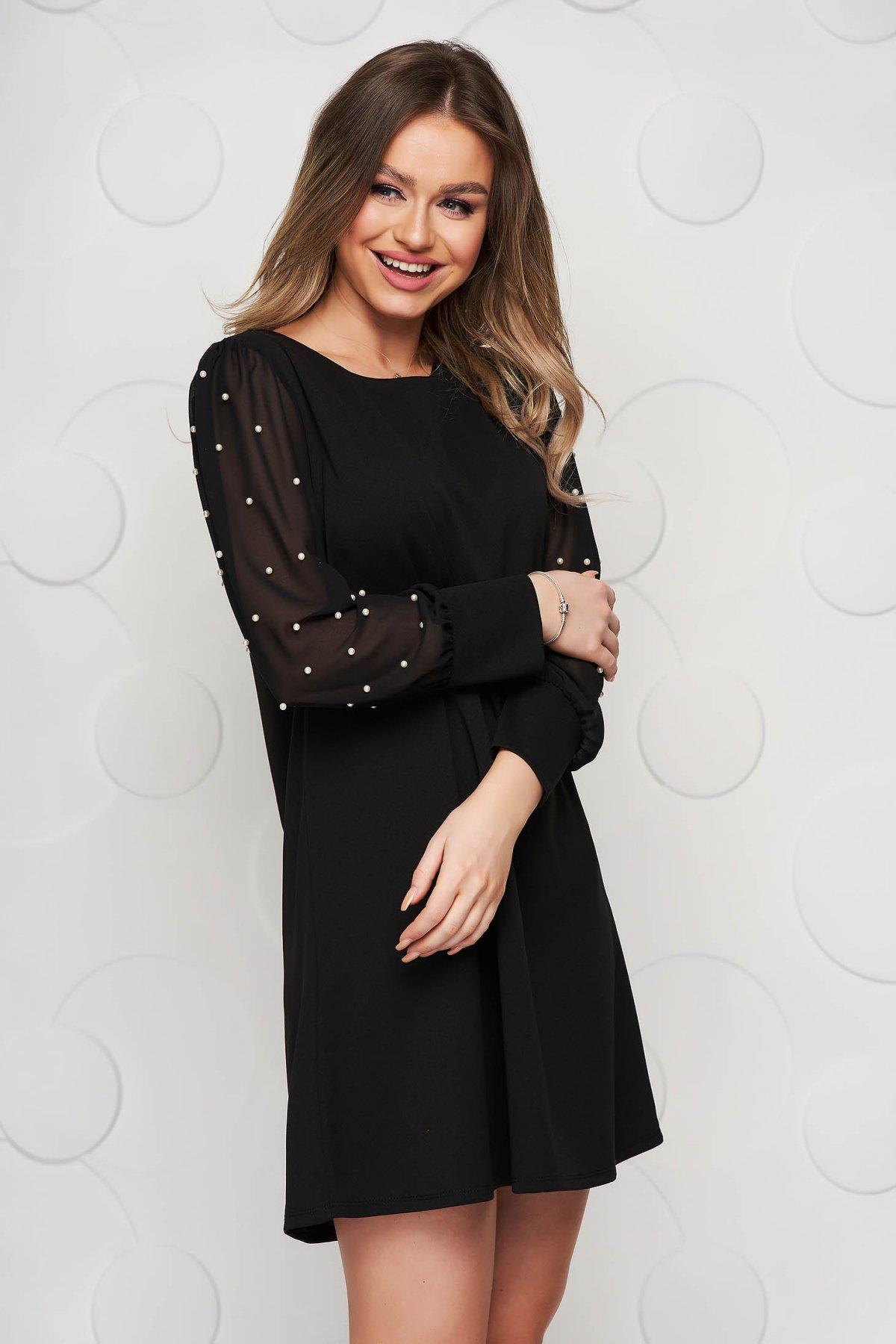 Rochie SunShine neagra scurta de ocazie cu croi larg cu maneci din voal si aplicatii cu perle