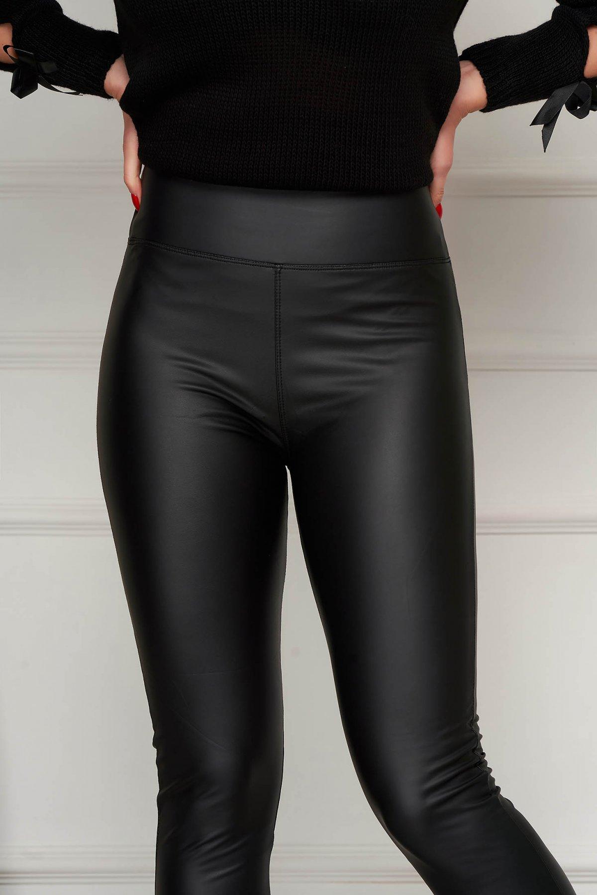 Colanti SunShine negru casual din piele ecologica cu talie inalta si croi mulat