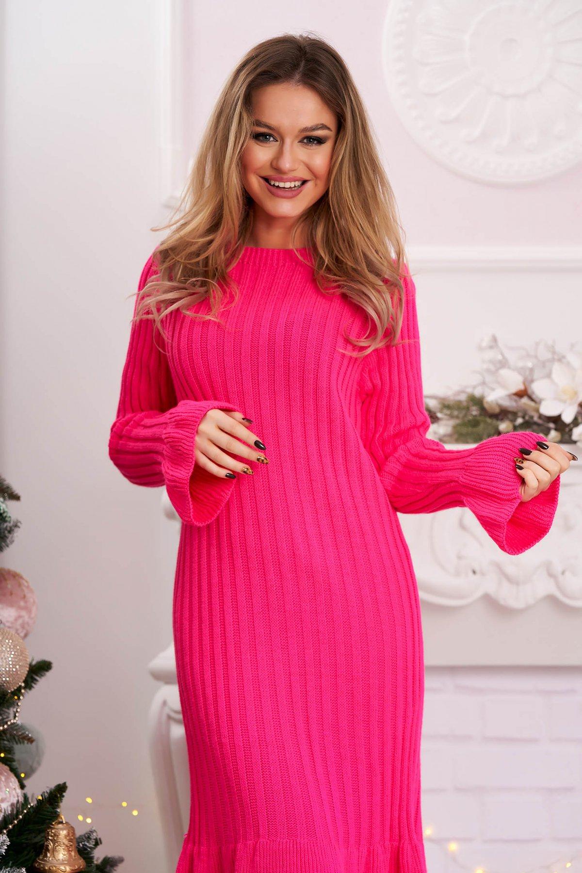Rochie roz midi din material reiat tricotata cu maneci clopot