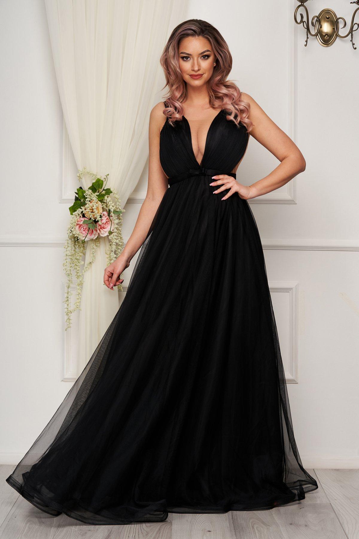 Rochie de lux neagra in clos din tul cu corset la spate - medelin.ro