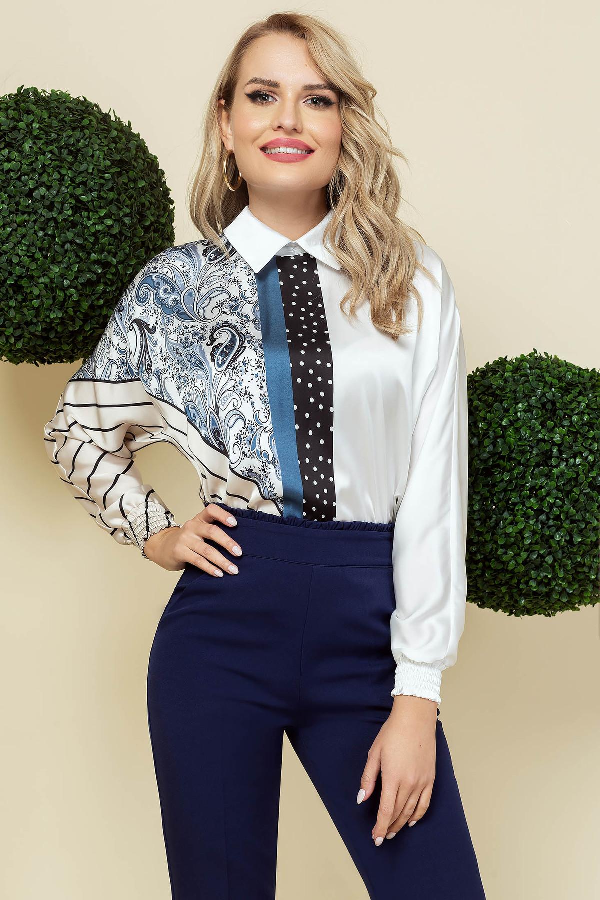 Bluza dama PrettyGirl eleganta cu croi larg din material usor satinat cu guler scutit