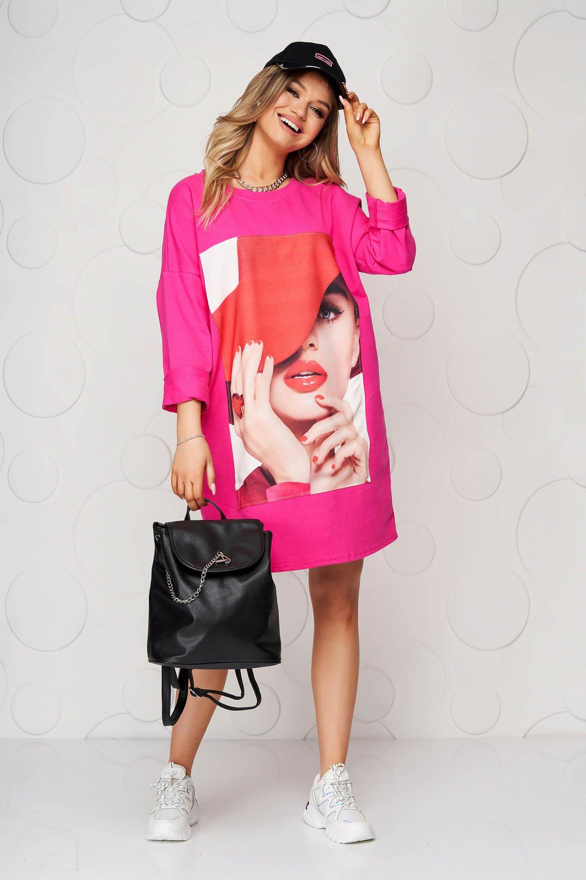 Rochie SunShine roz scurta din bumbac cu croi larg si print