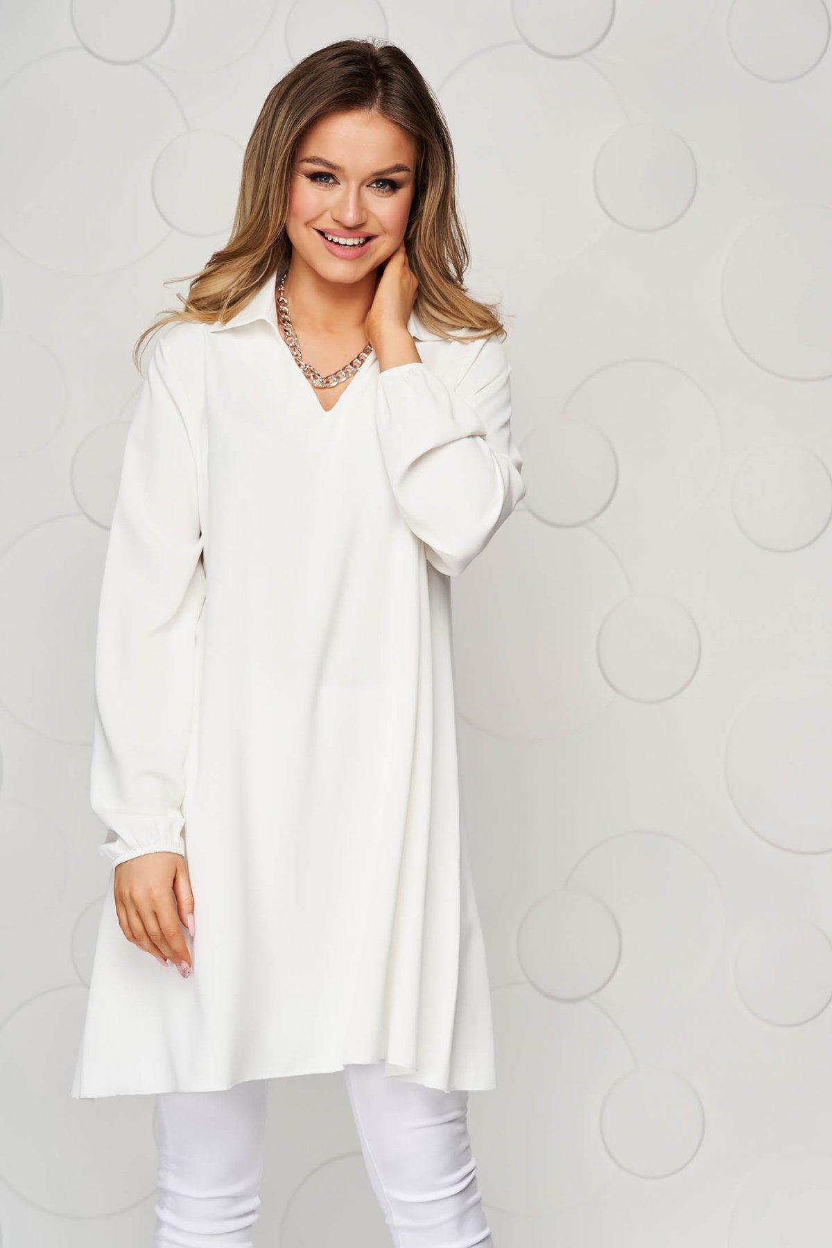 Bluza dama SunShine alba cu croi larg din material vaporos si transparent cu maneca lunga