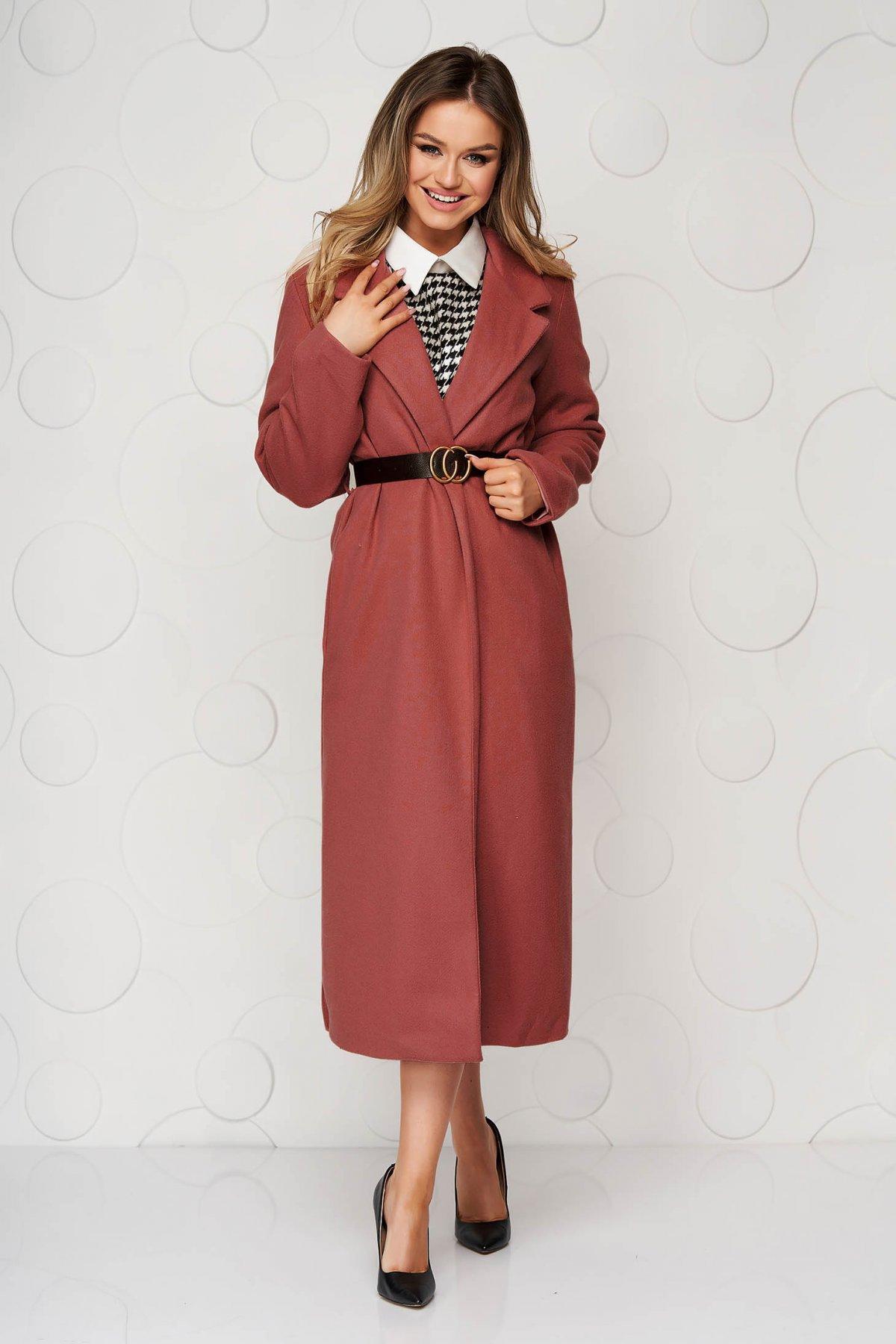 Palton SunShine caramiziu lung cu croi drept cu buzunare si curea