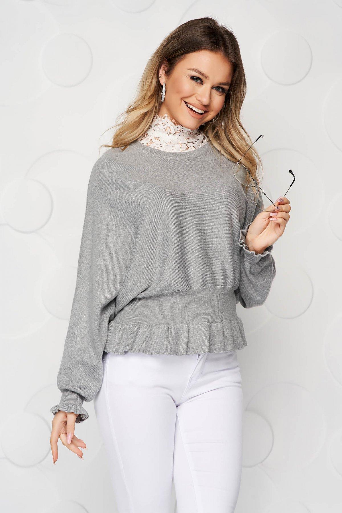 Bluza dama SunShine gri casual din tricot reiat elastic si fin cu volanase
