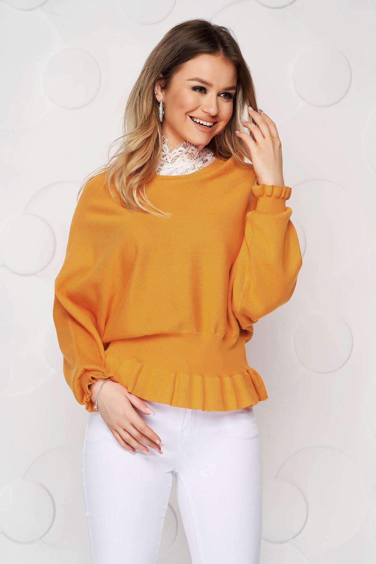 Bluza dama SunShine mustarie casual din tricot reiat elastic si fin cu volanase