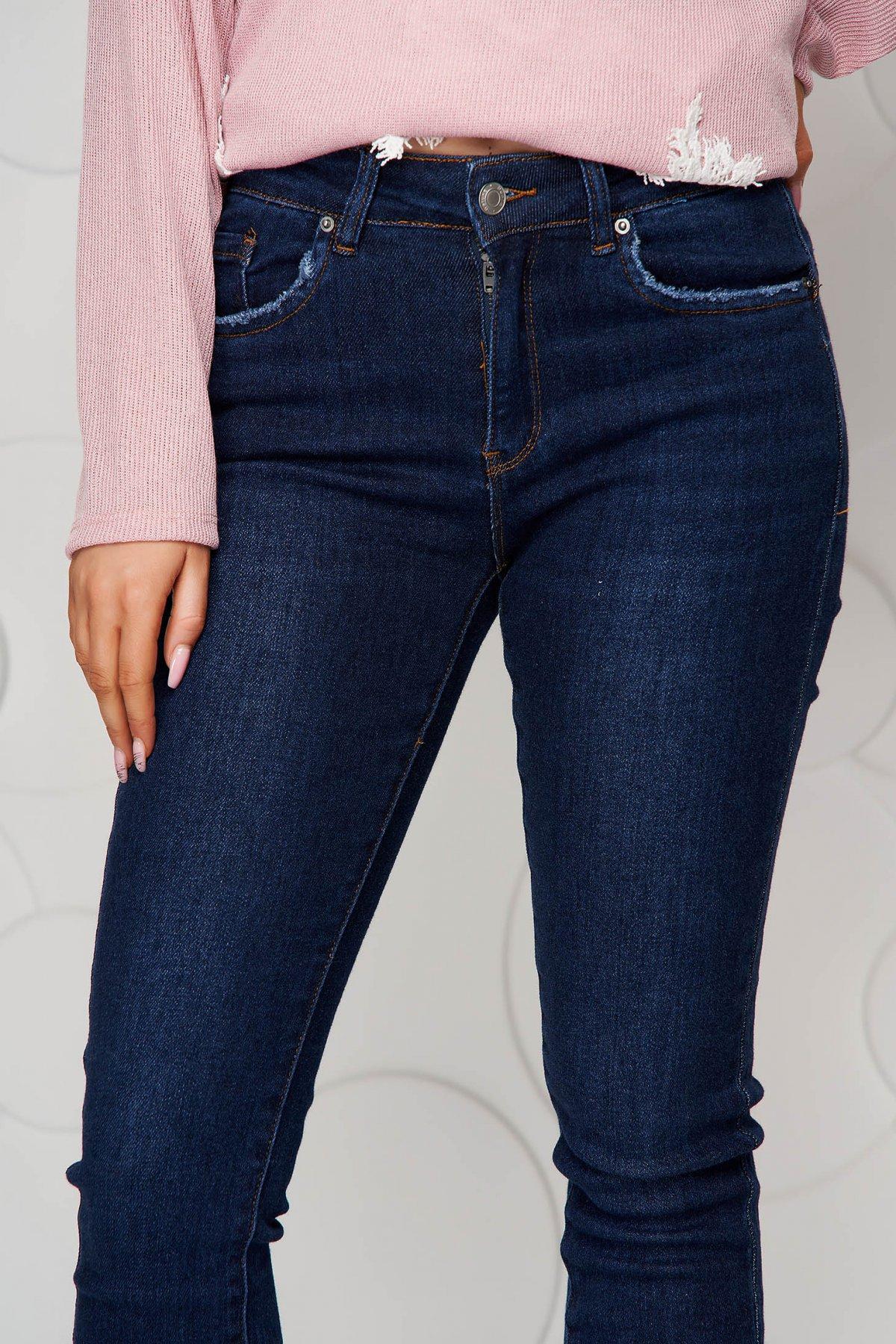 Blugi albastri SunShine skinny cu talie inalta pantalonii sunt elastici