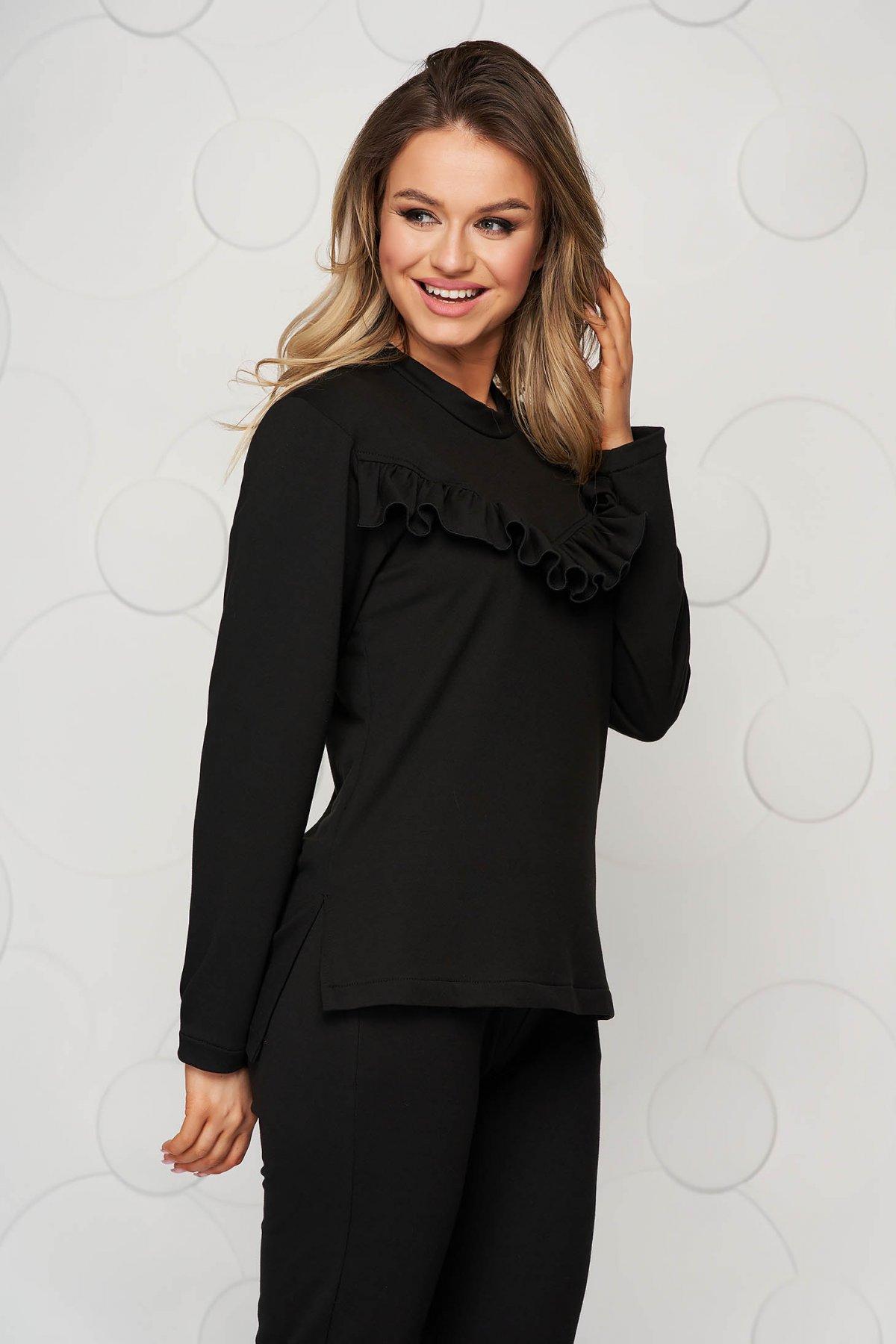Bluza dama StarShinerS neagra sport cu croi larg cu aplicatii de dantela
