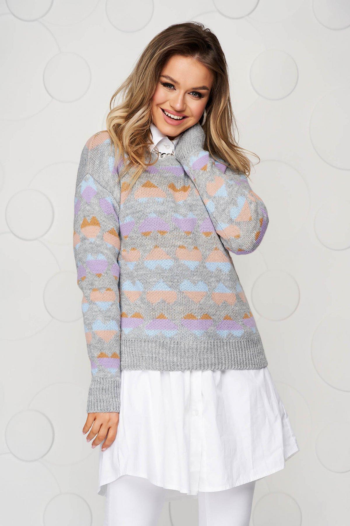 Bluza dama gri casual tricotata cu croi larg cu imprimeuri grafice