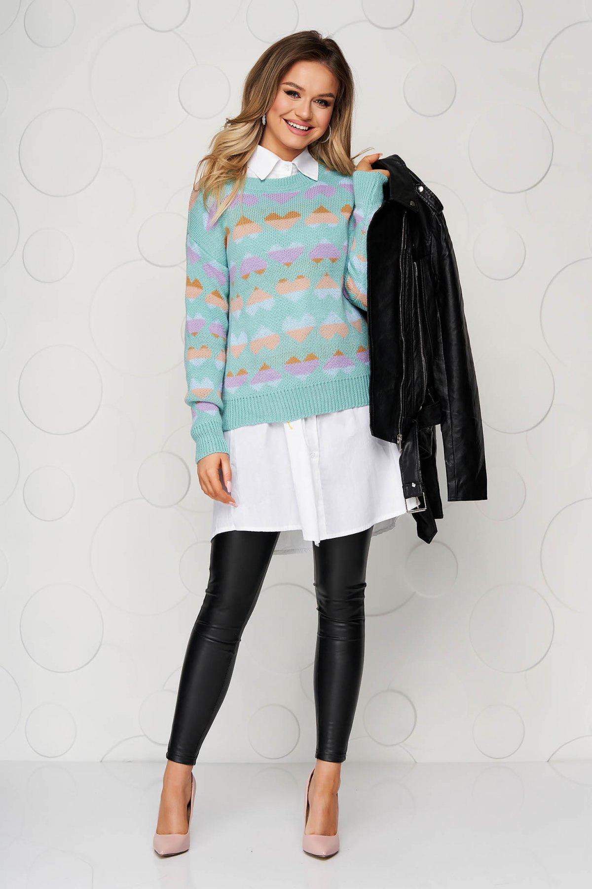 Bluza dama turcoaz casual tricotata cu croi larg cu imprimeuri grafice