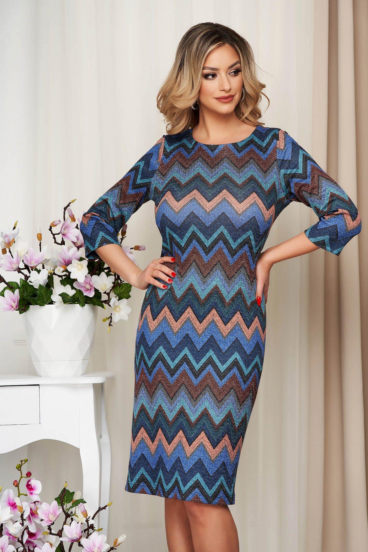 Rochie albastra midi tip creion din tricot elastic - medelin.ro