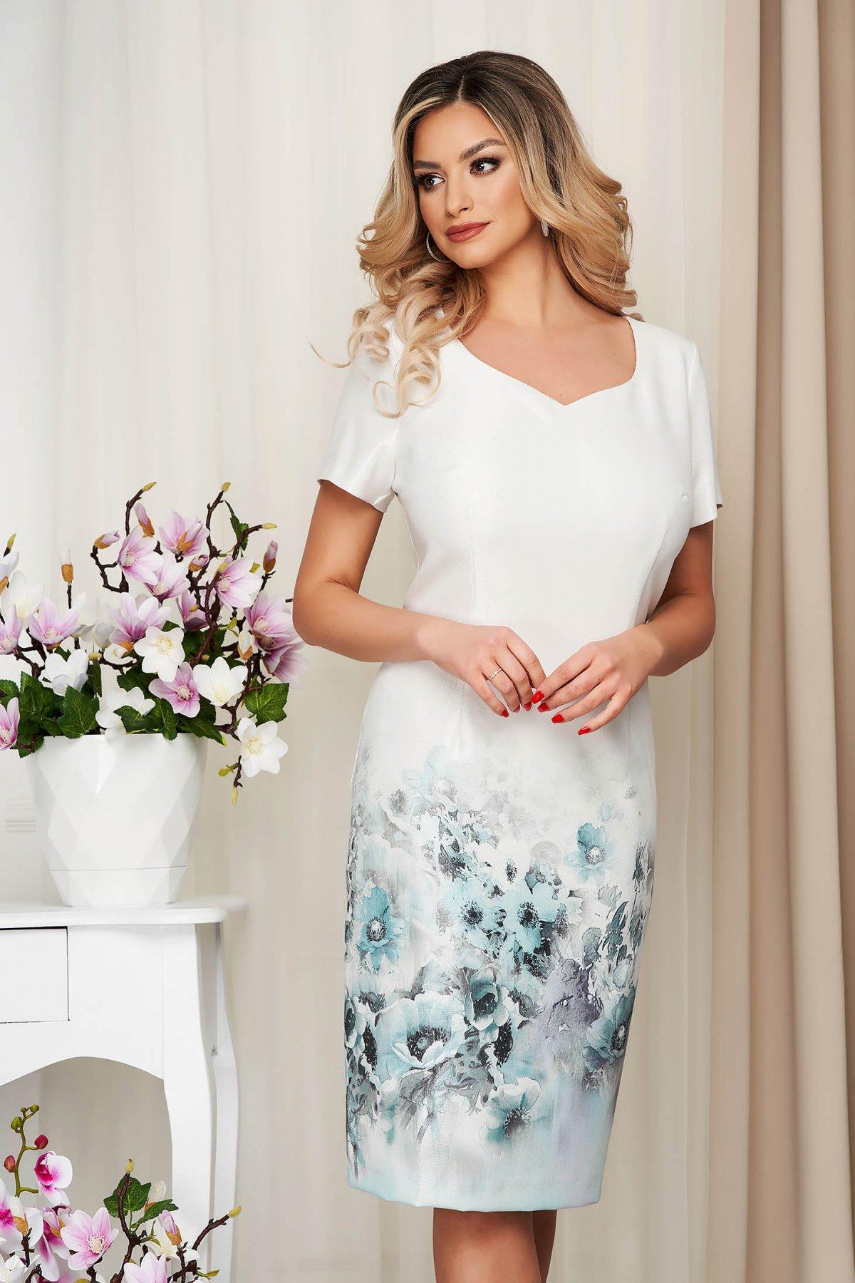 Rochie ivoire din material reiat din material elastic tip creion cu imprimeu floral
