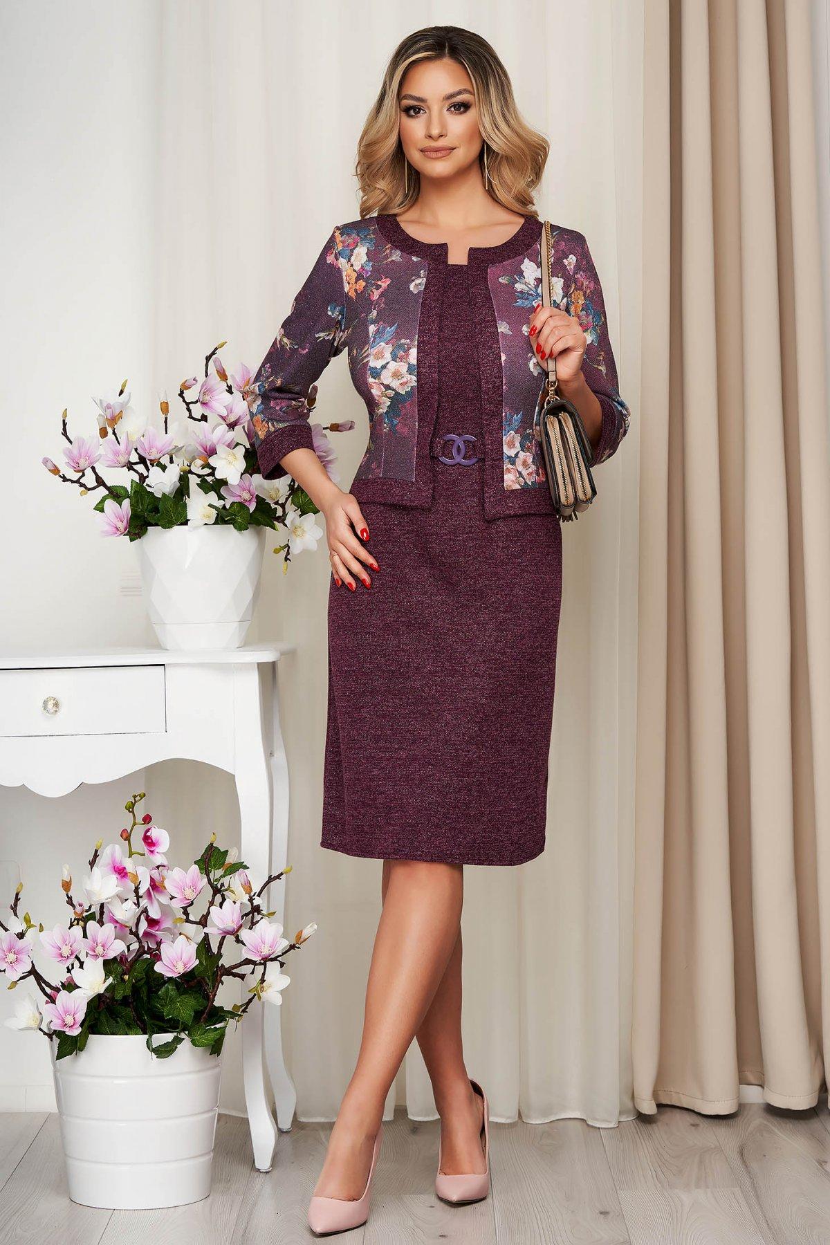 Rochie Lady Pandora Visinie Din Material Elastic Tricotata Tip Creion Cu Cardigan Fals