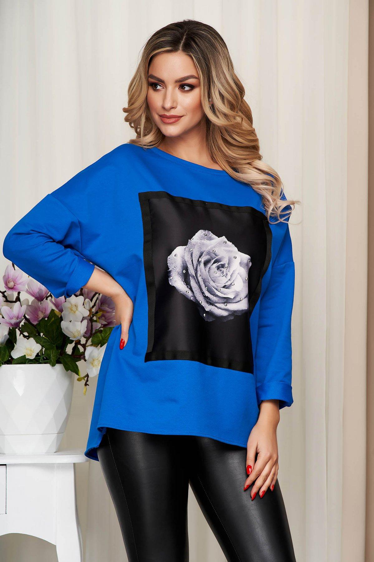 Bluza dama SunShine albastra din bumbac elastic cu croi larg cu imprimeuri grafice
