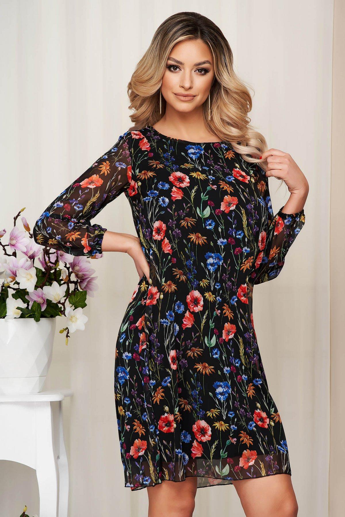 Rochie neagra din voal cu imprimeu floral captusita pe interior - medelin.ro