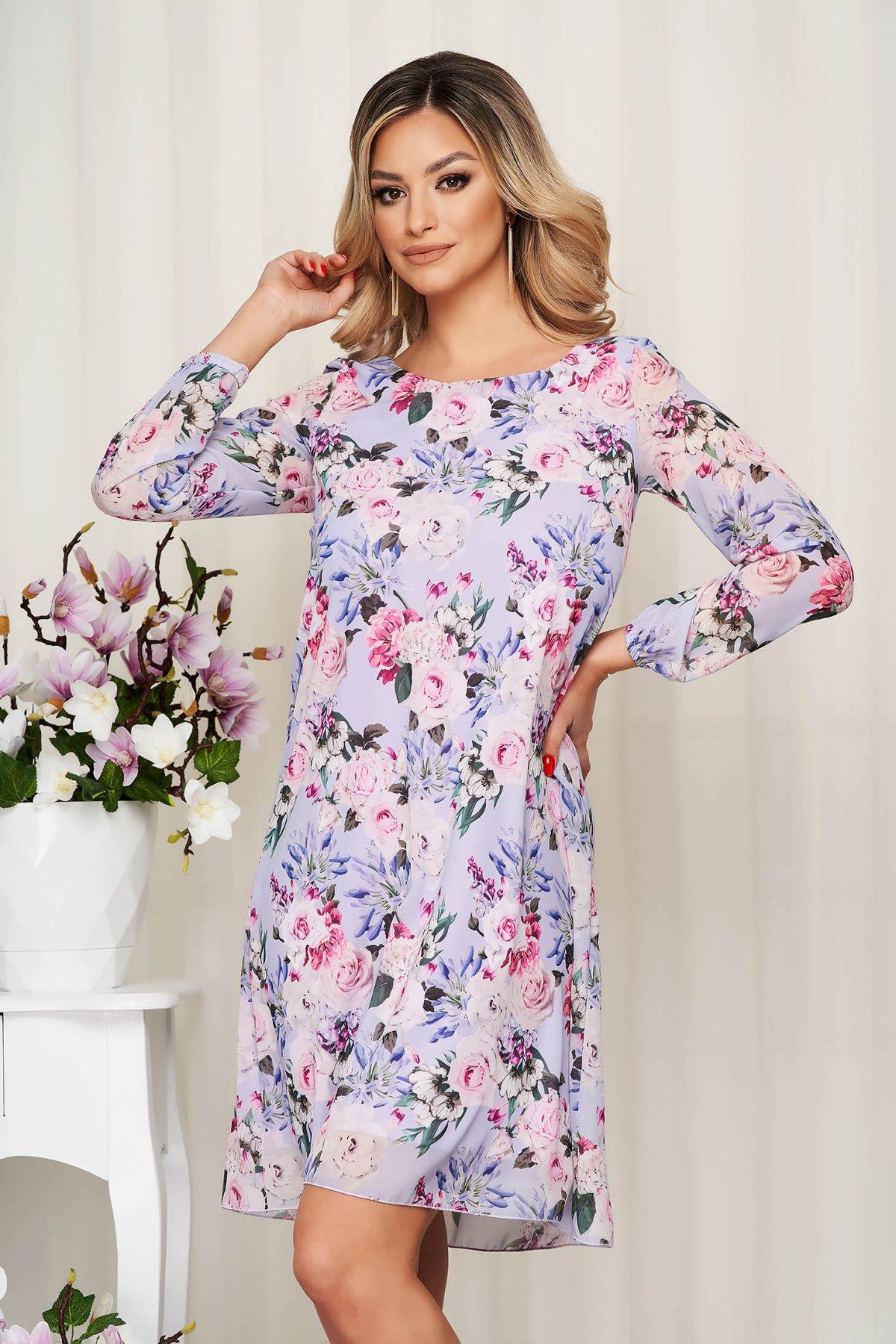 Rochie lila din voal cu imprimeu floral captusita pe interior - medelin.ro
