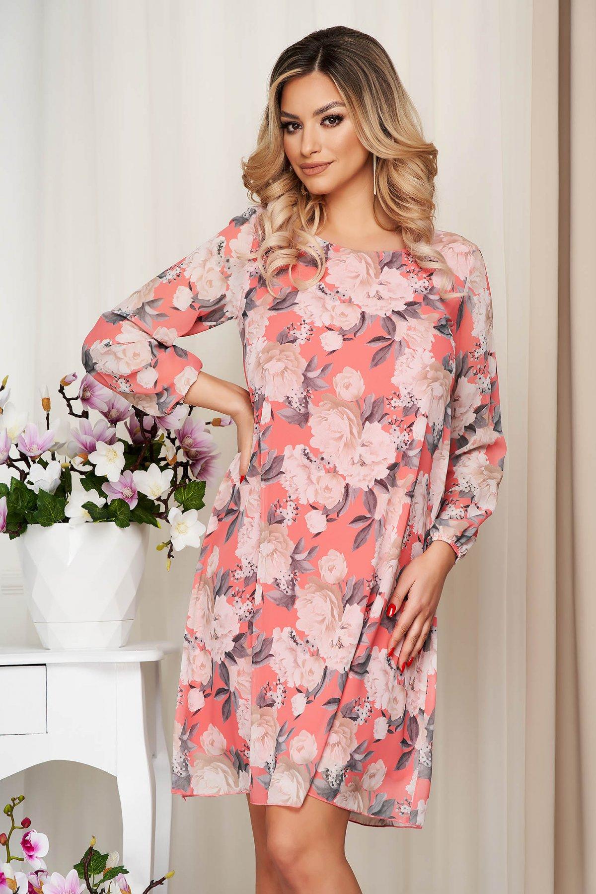 Rochie portocalie din voal cu imprimeu floral captusita pe interior - medelin.ro