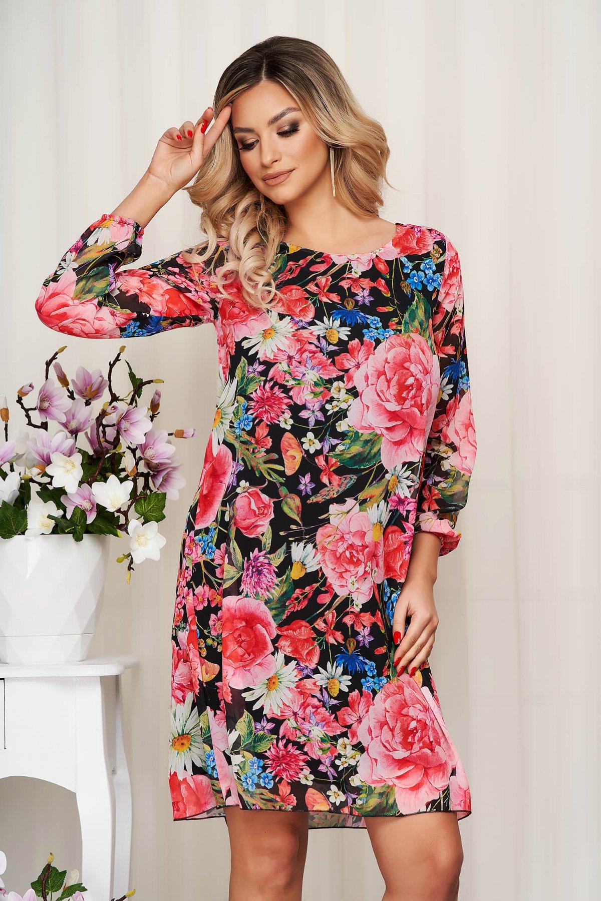 Rochie din voal cu imprimeu floral captusita pe interior - medelin.ro