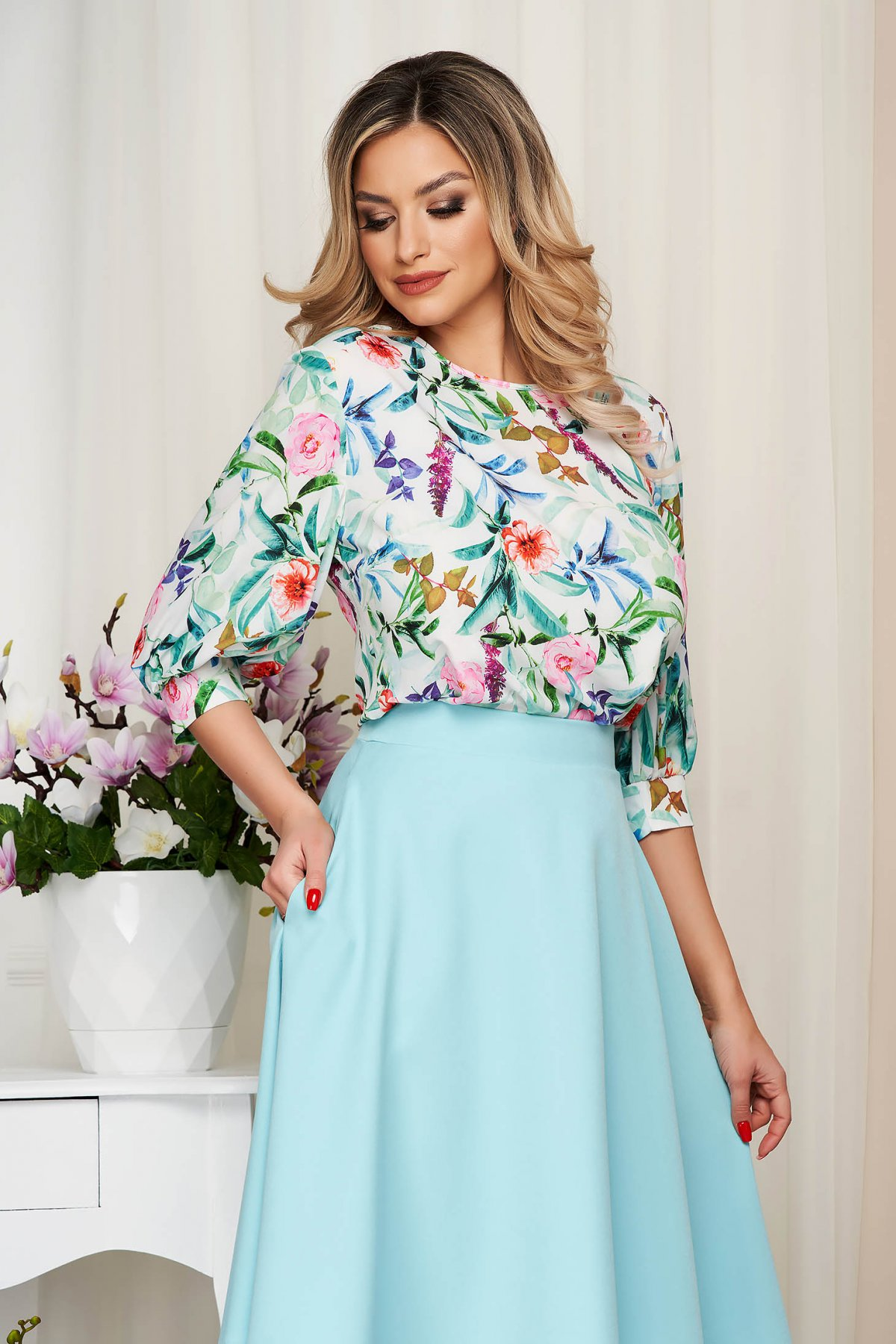 Bluza dama StarShinerS alba cu imprimeu floral cu croi larg
