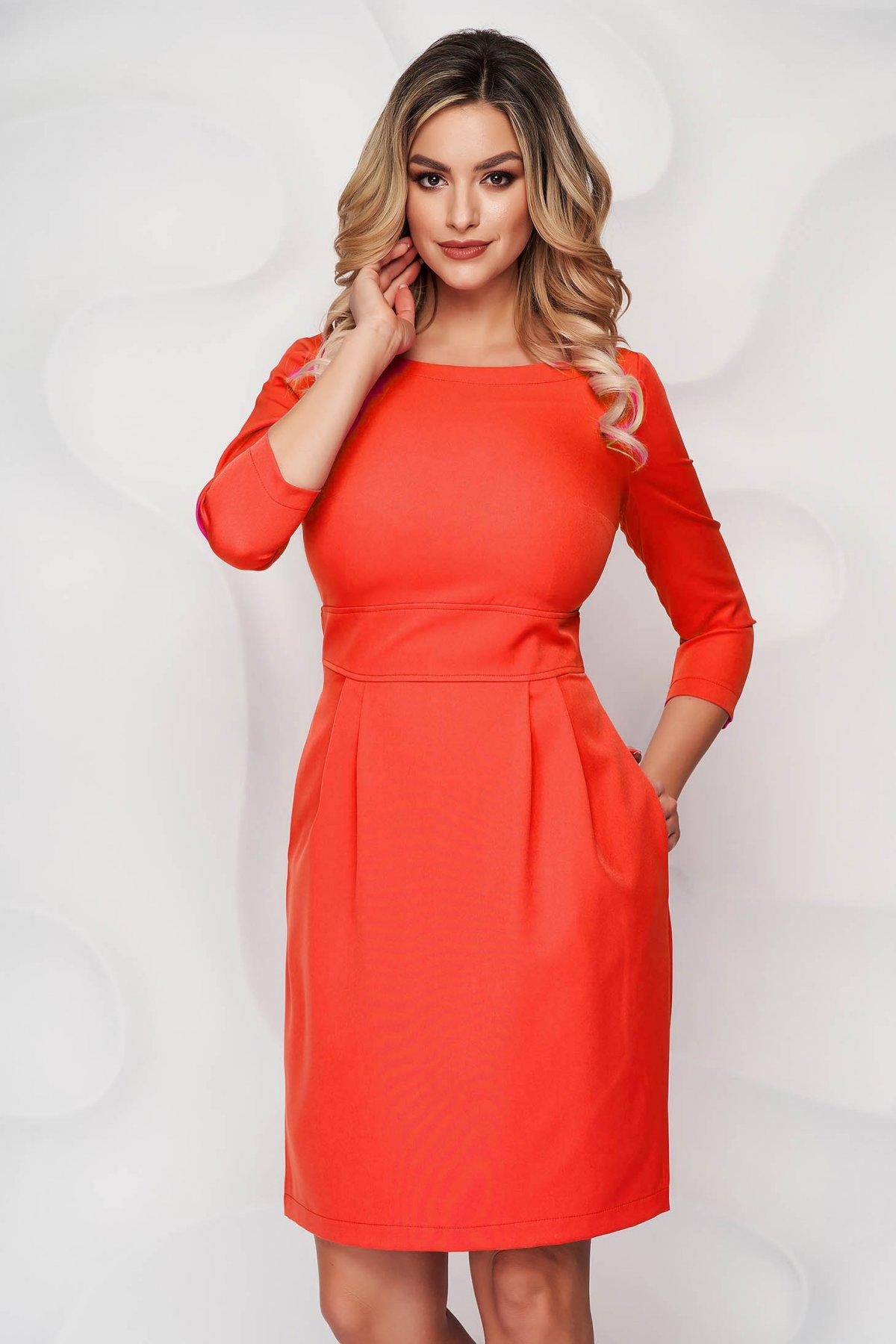 Rochie StarShinerS portocalie scurta din stofa usor elastica cu croi in a si buzunare - medelin.ro