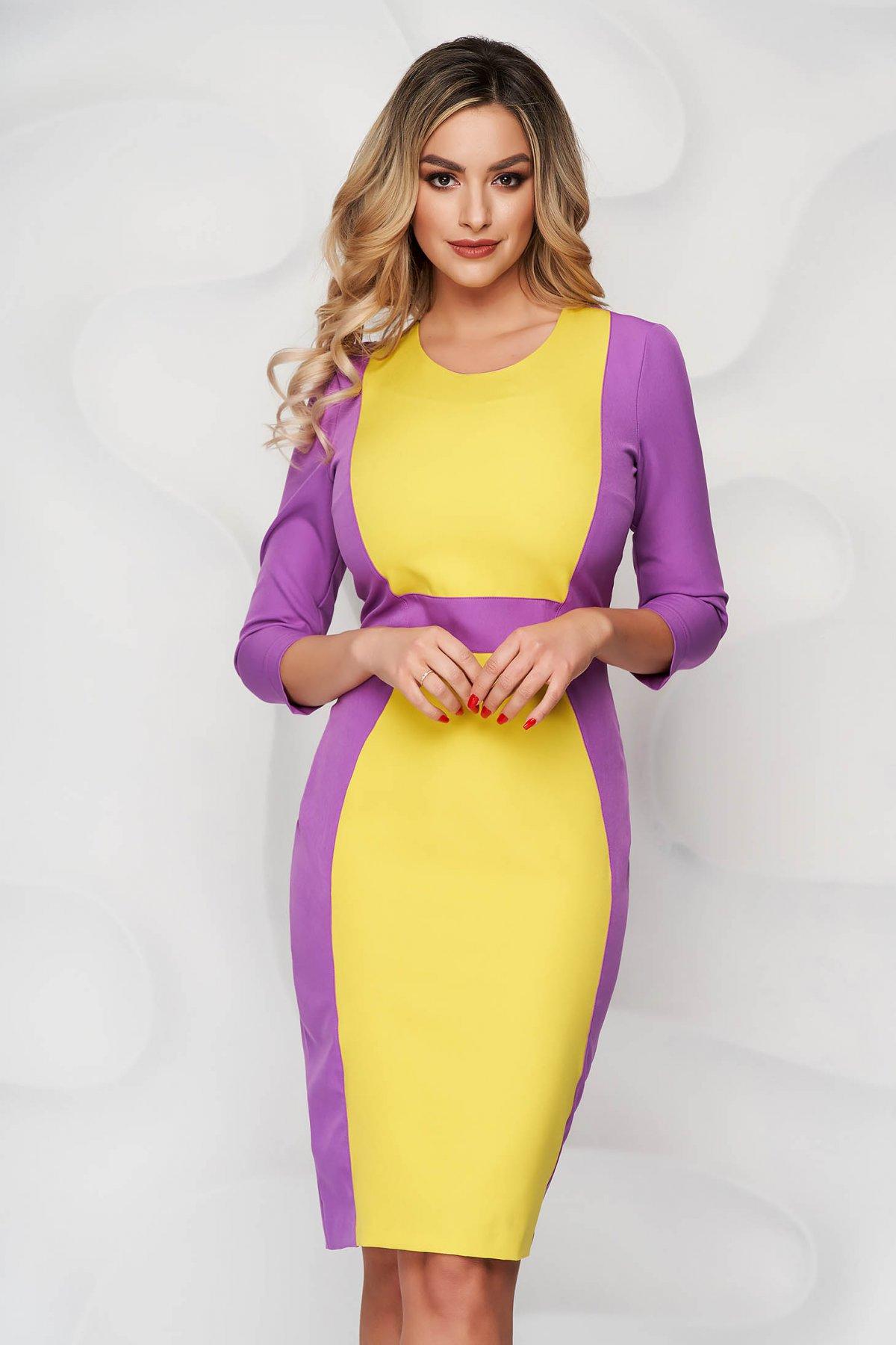 Rochie StarShinerS mov cu galben eleganta midi din stofa cu maneci trei-sferturi