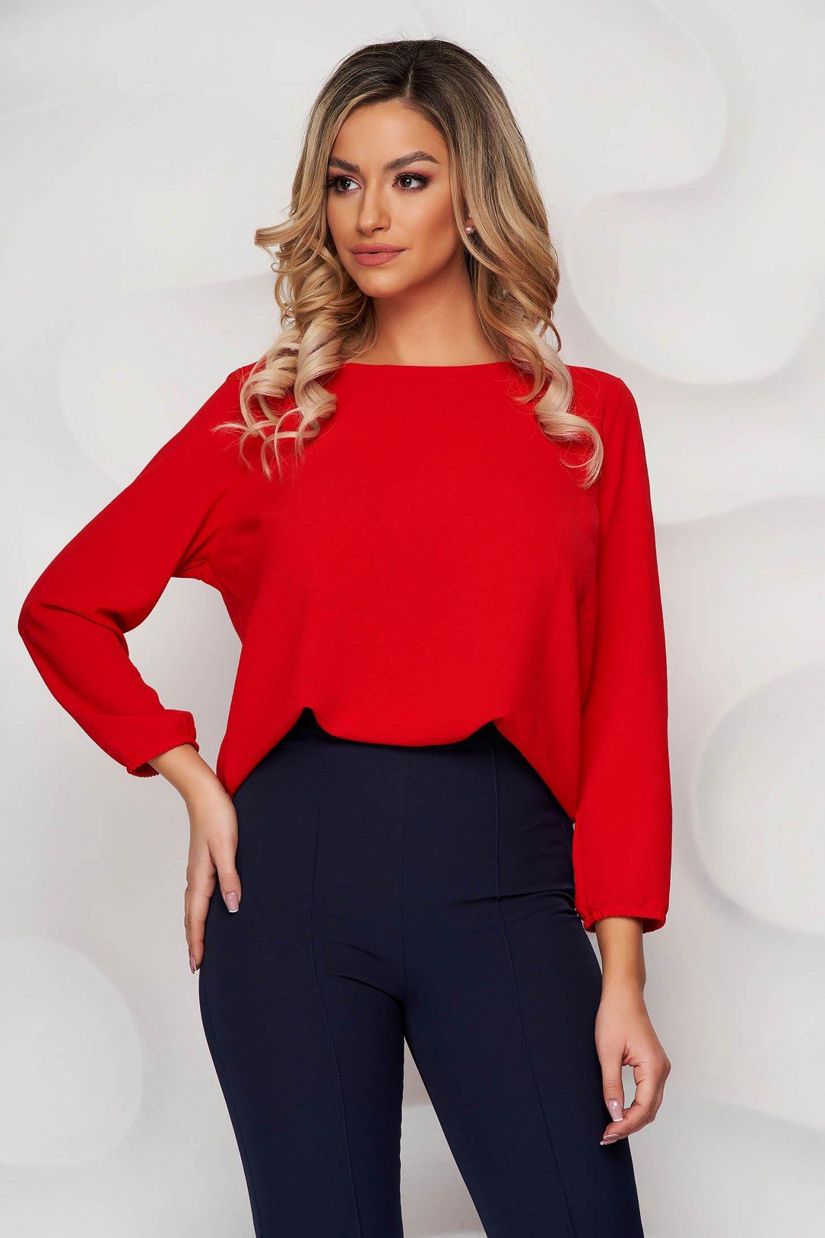 Bluza dama StarShinerS rosie din material elastic cu croi larg cu decolteu rotunjit