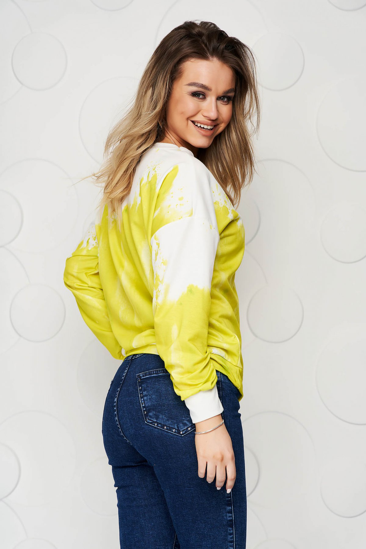 Bluza dama SunShine galbena in degrade din material elastic si fin cu croi larg scurta
