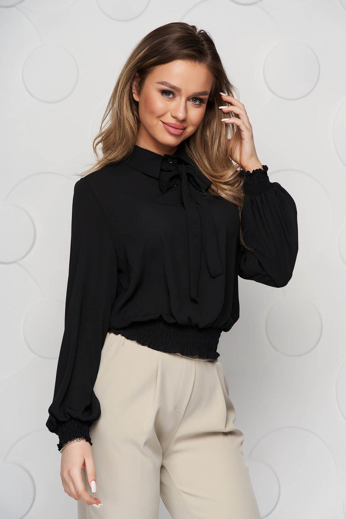 Bluza dama SunShine neagra din voal cu elastic in talie si guler tip esarfa