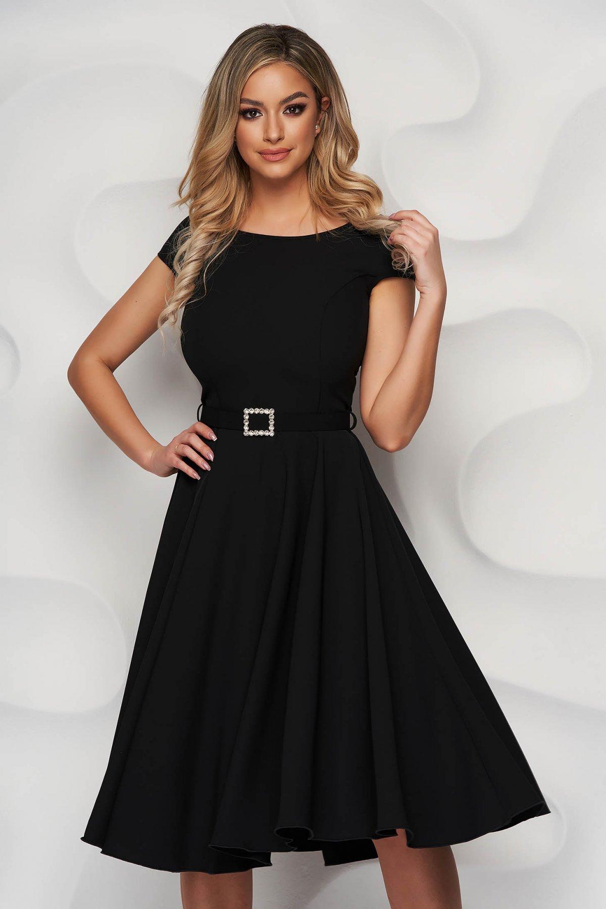 Rochie StarShinerS neagra eleganta midi din stofa accesorizata cu o centura - medelin.ro