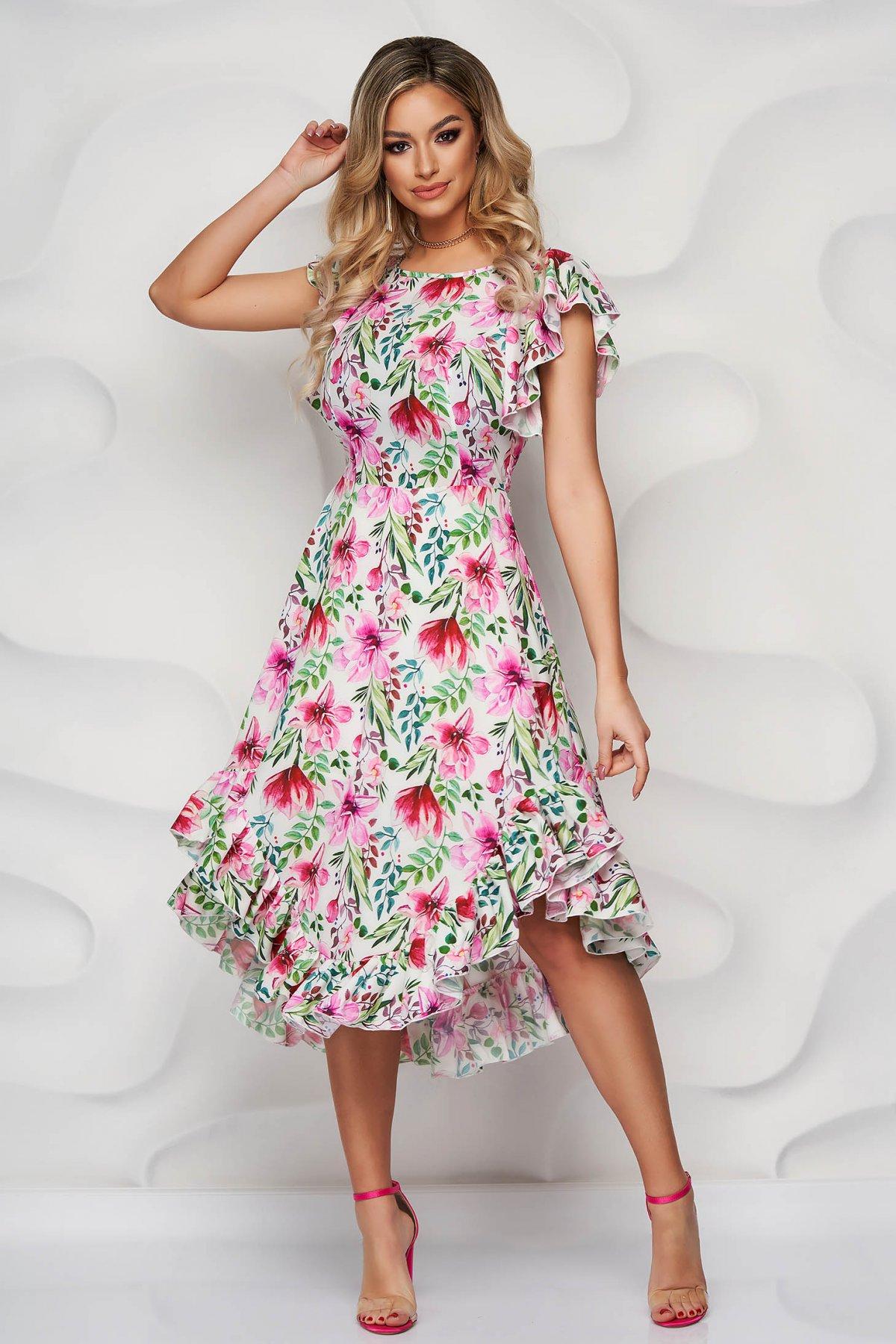 StarShinerS rochie eleganta midi in clos din material moale cu volanase - medelin.ro