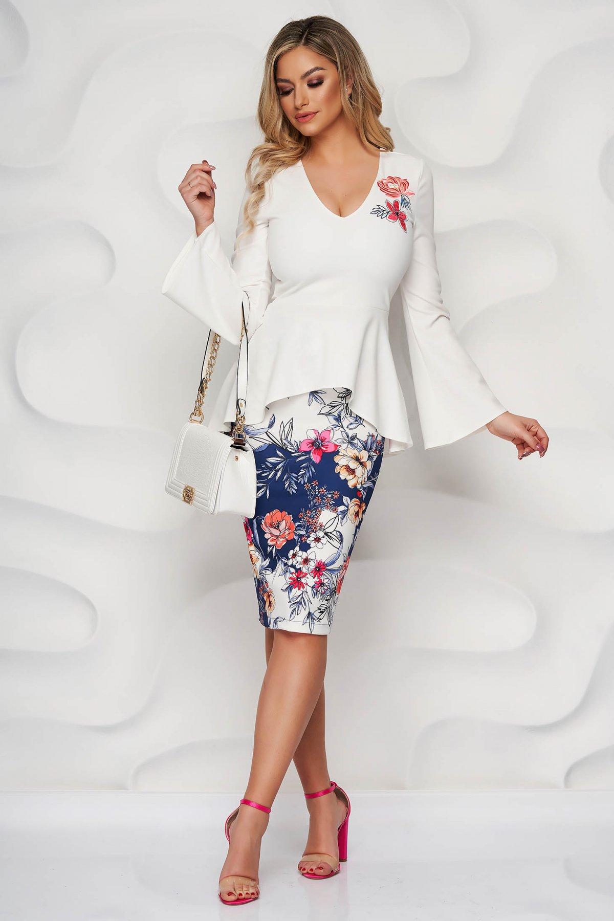 Set StarShinerS elegant cu bluza brodata si fusta tip creion cu imprimeuri florale
