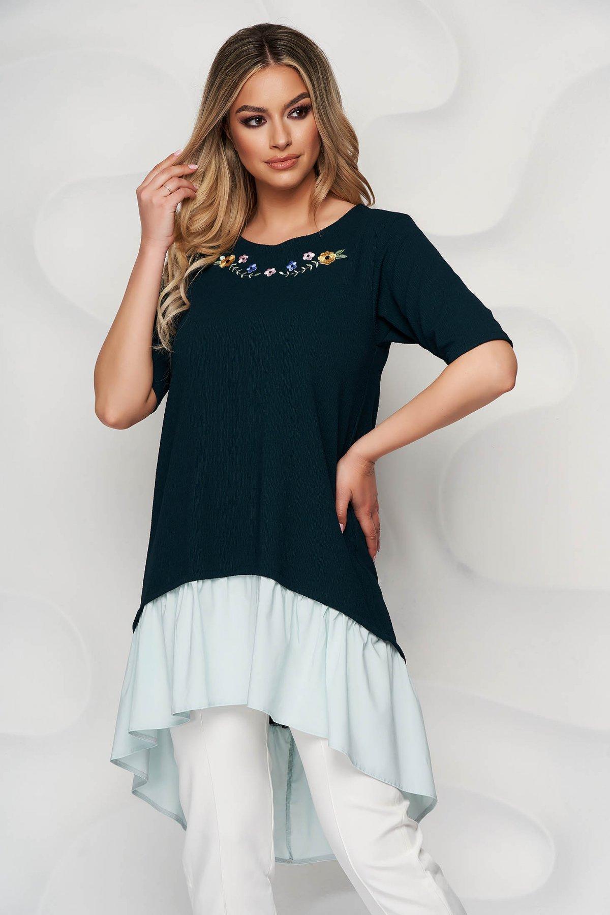 Bluza dama StarShinerS verde petrol asimetrica brodata cu croi larg si terminatie tip camasa